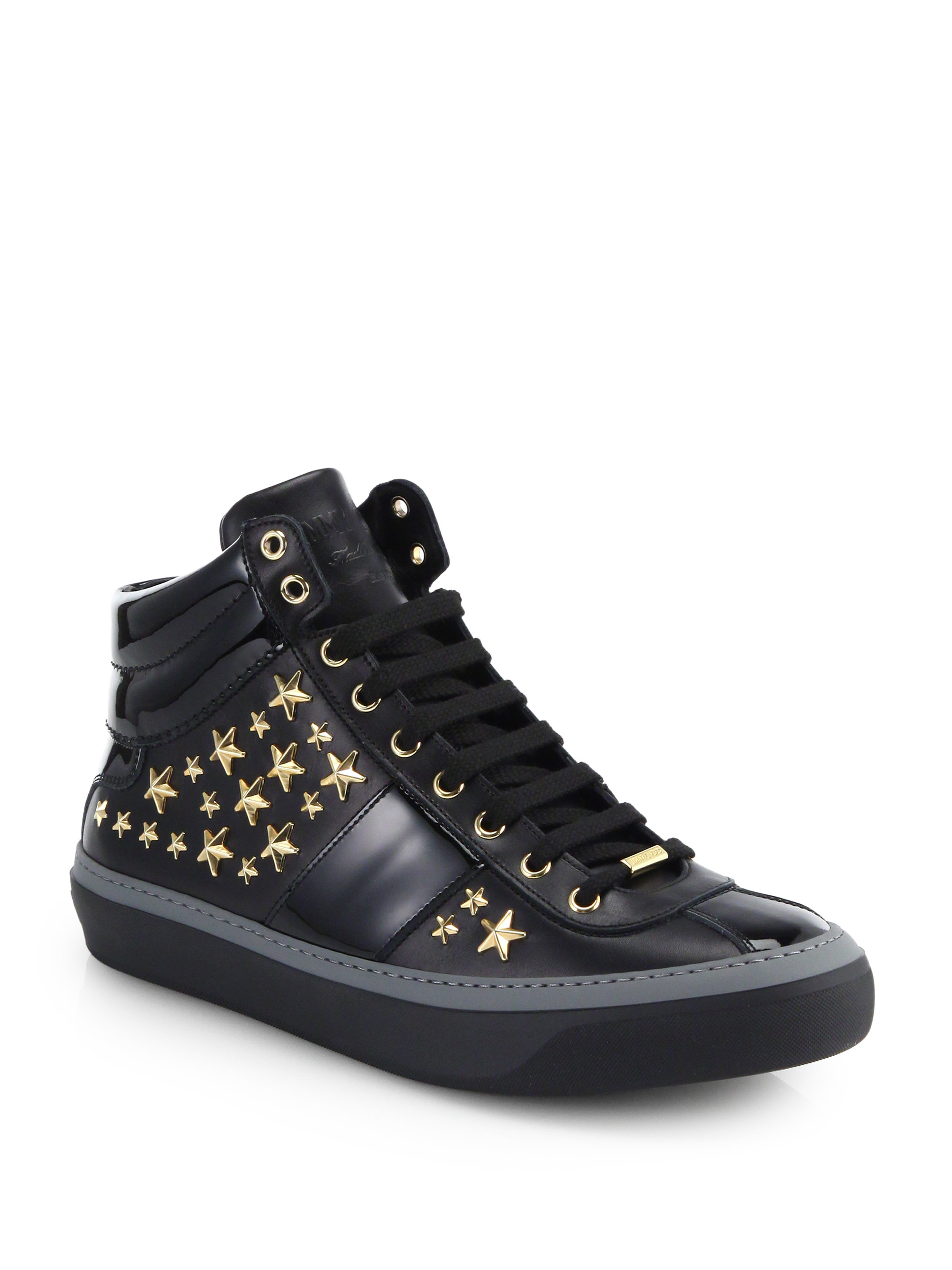 Lyst Jimmy Choo Black Patent And Matte Star Studded