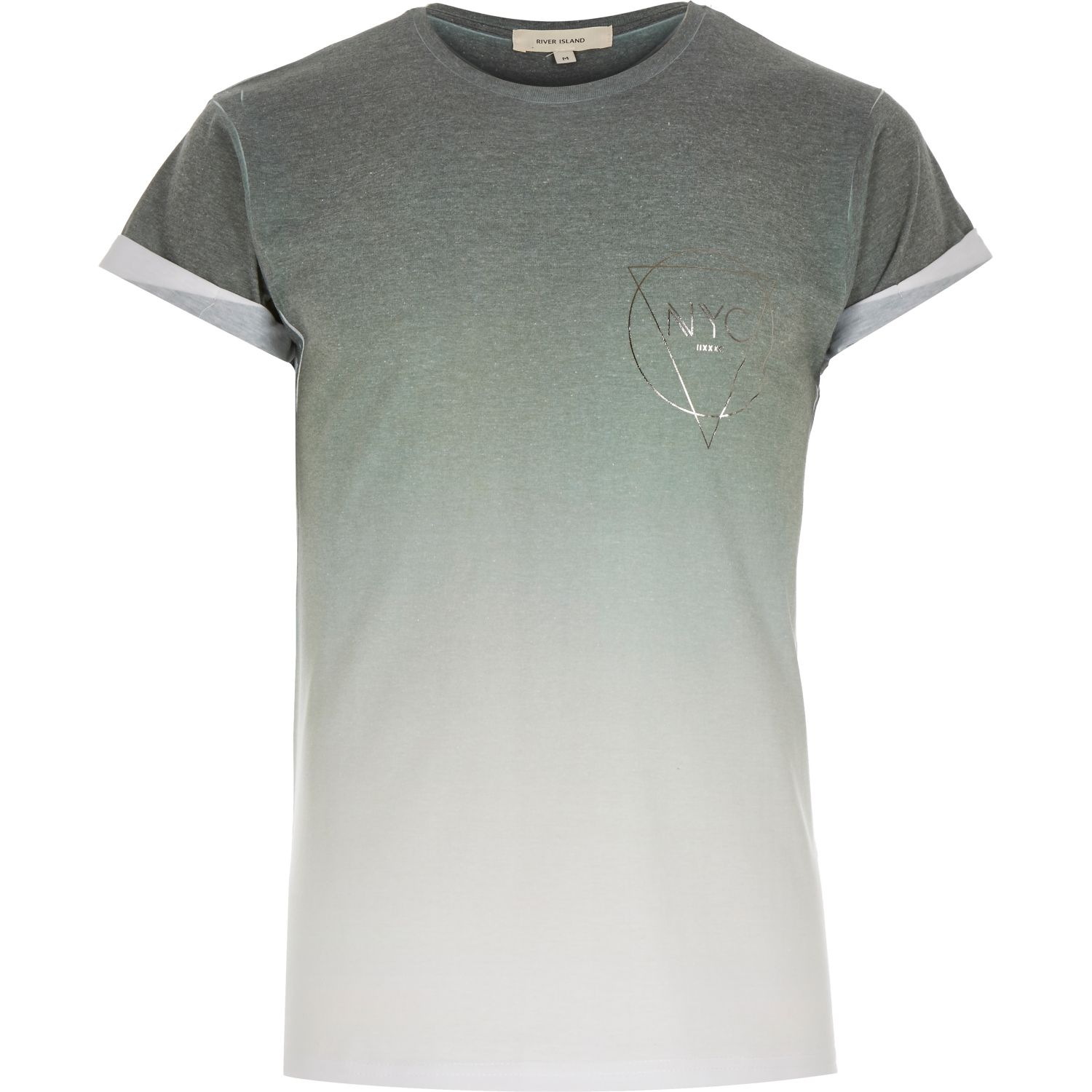 River island khaki faded nyc print t shirt in natural for for Faded color t shirts
