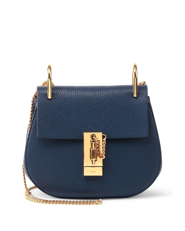 chlo drew small shoulder bag in blue navy lyst. Black Bedroom Furniture Sets. Home Design Ideas