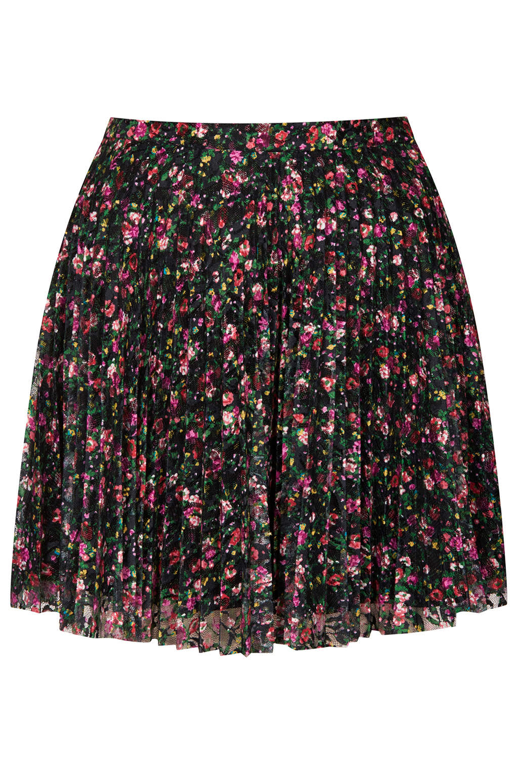 topshop mini floral lace pleated skirt in black lyst