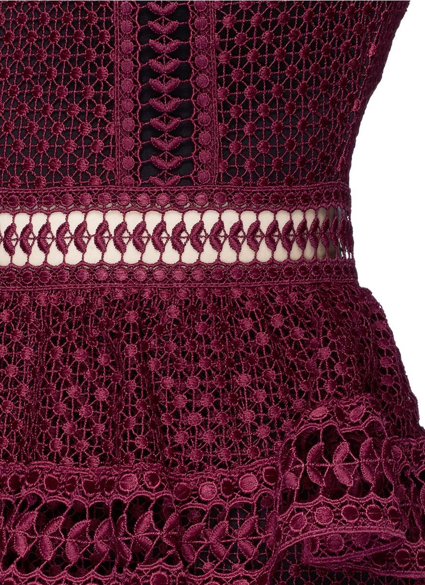 7948b4b81dd19 Self-Portrait Paneled Lace Mini Dress in Red - Lyst