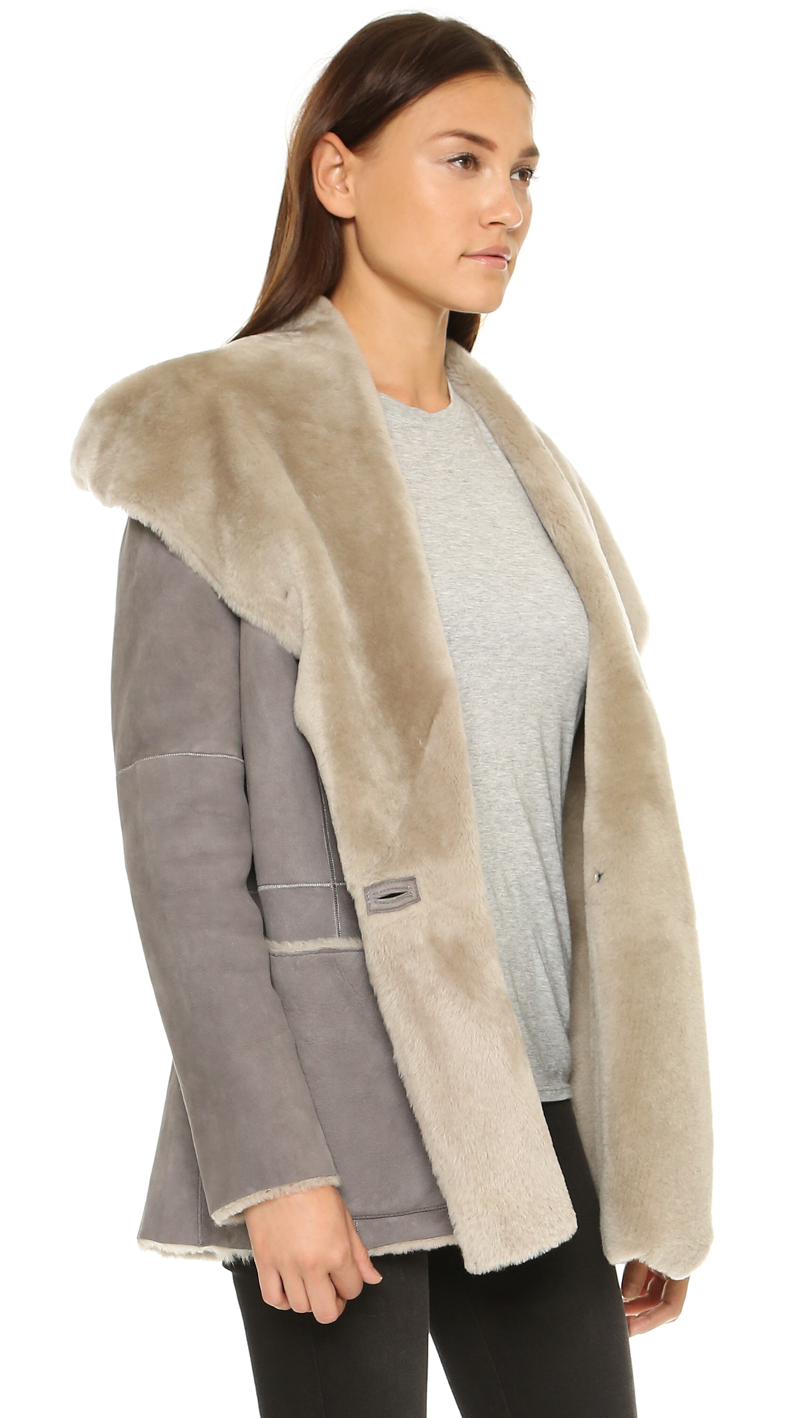 Vince Hooded Shearling Coat in Gray | Lyst