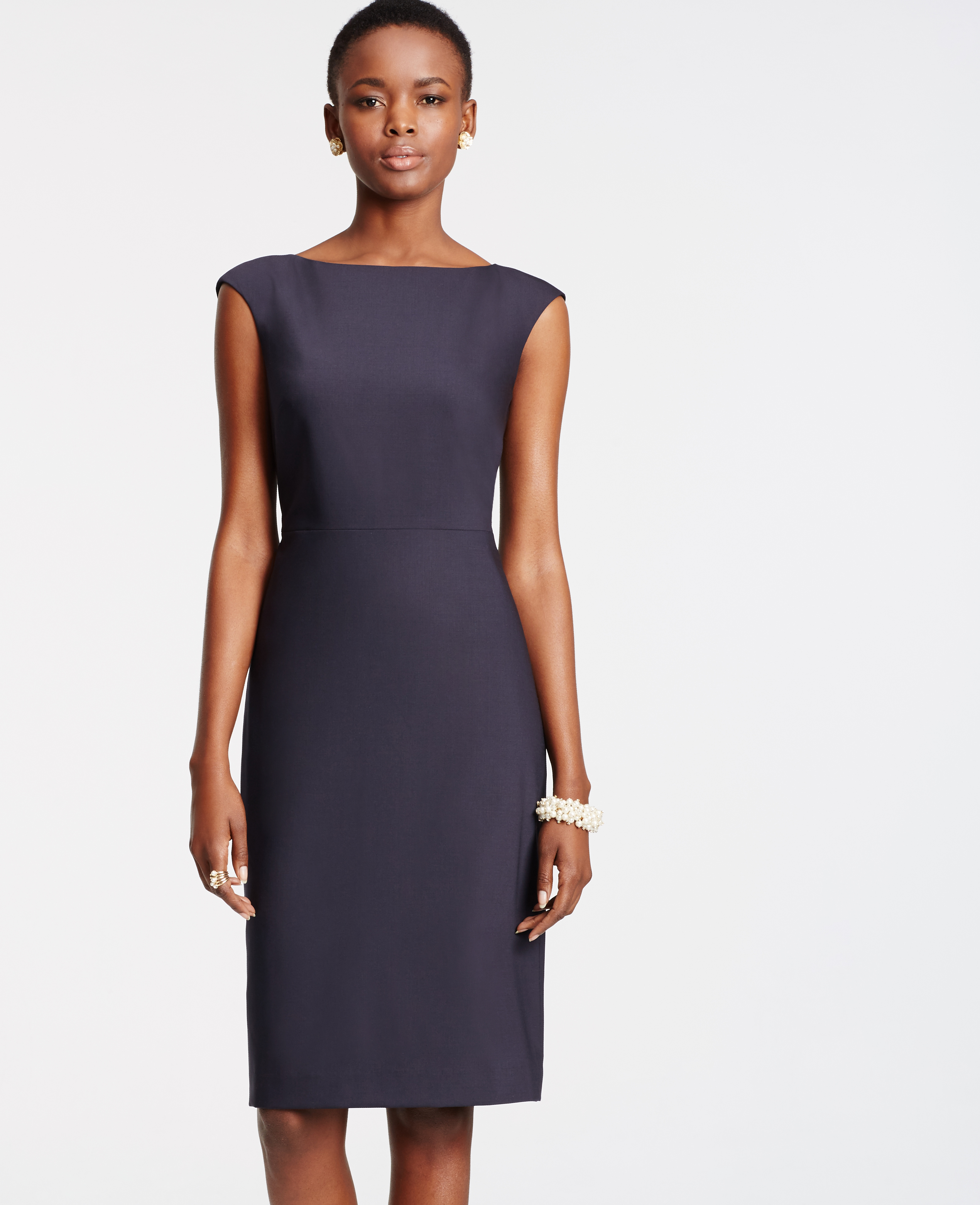Ann taylor Tropical Wool Sheath Dress in Blue | Lyst