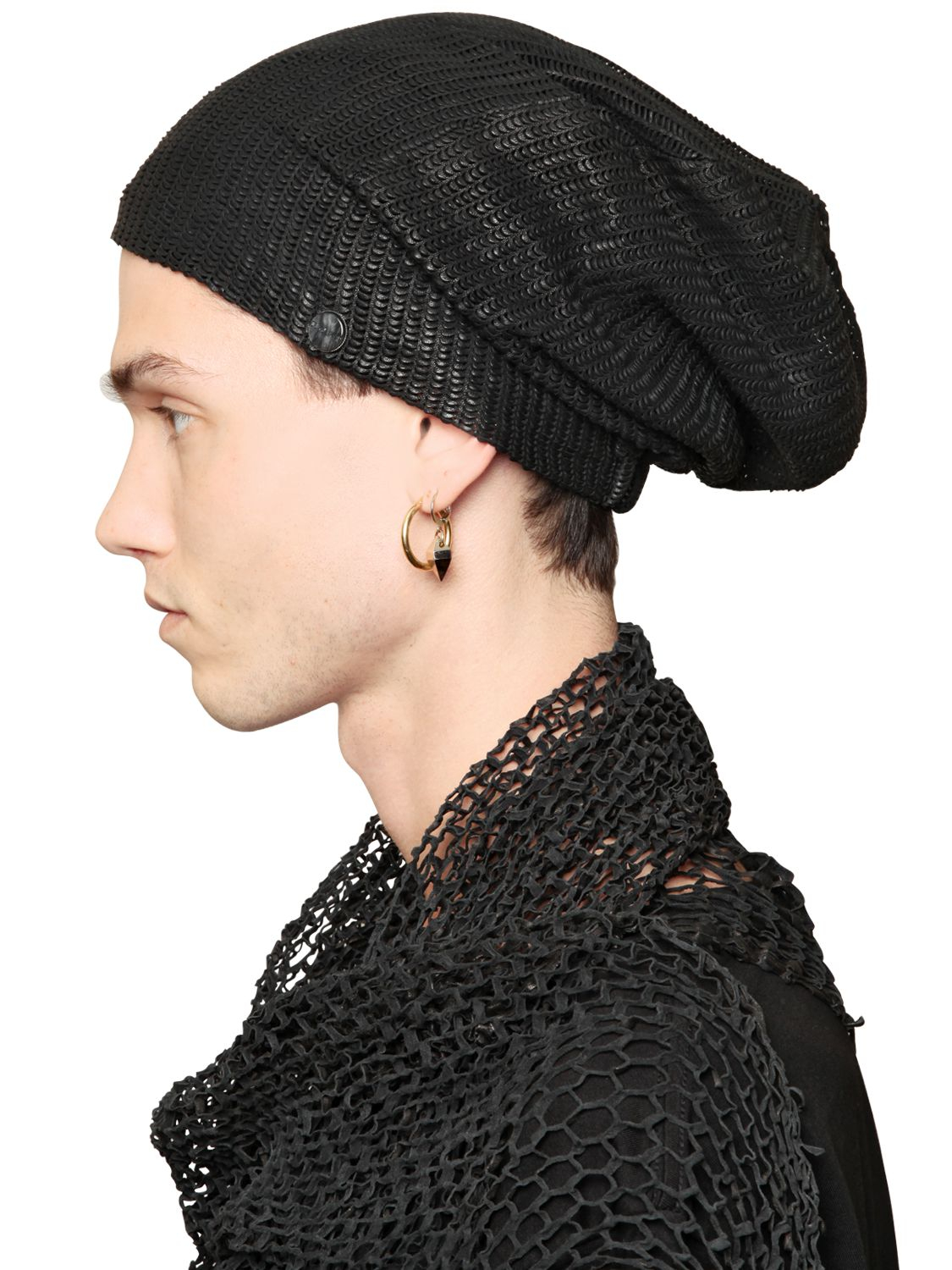 Lyst - Cutuli Cult Snakeskin Effect Leather Beanie in Black for Men 81691a1f9f8