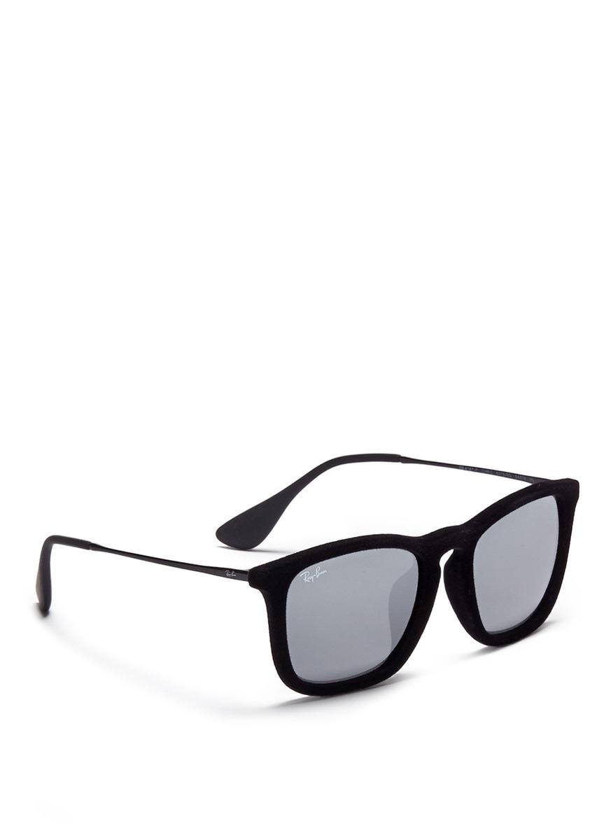 faba7d9042 ... ebay ray ban chris velvet wire rim mirror sunglasses in black for men  a4a4e 1a9a7