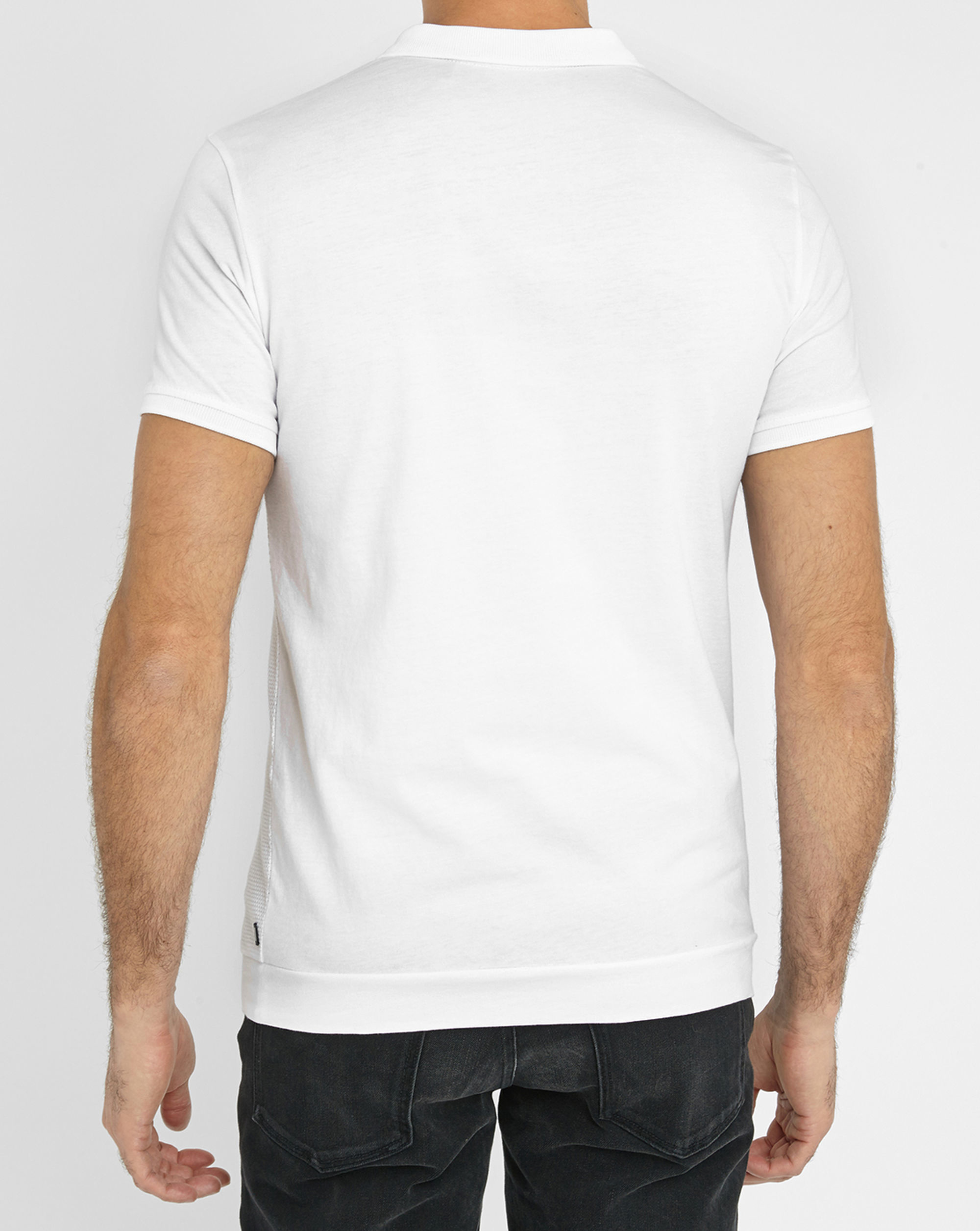 ikks white textured dual fabric polo shirt in white for men lyst. Black Bedroom Furniture Sets. Home Design Ideas