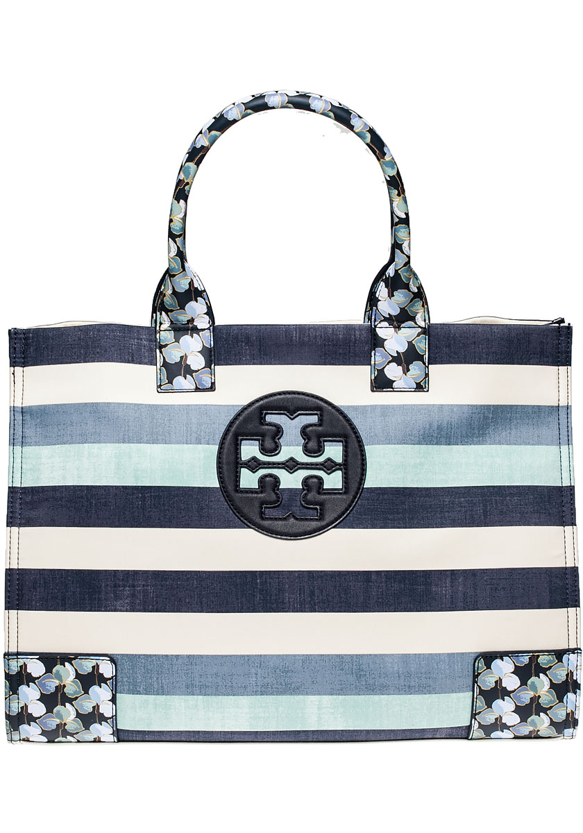 42abf4c86cb Lyst - Tory Burch Ella Printed Tote Harbor Stripe Combo in Blue