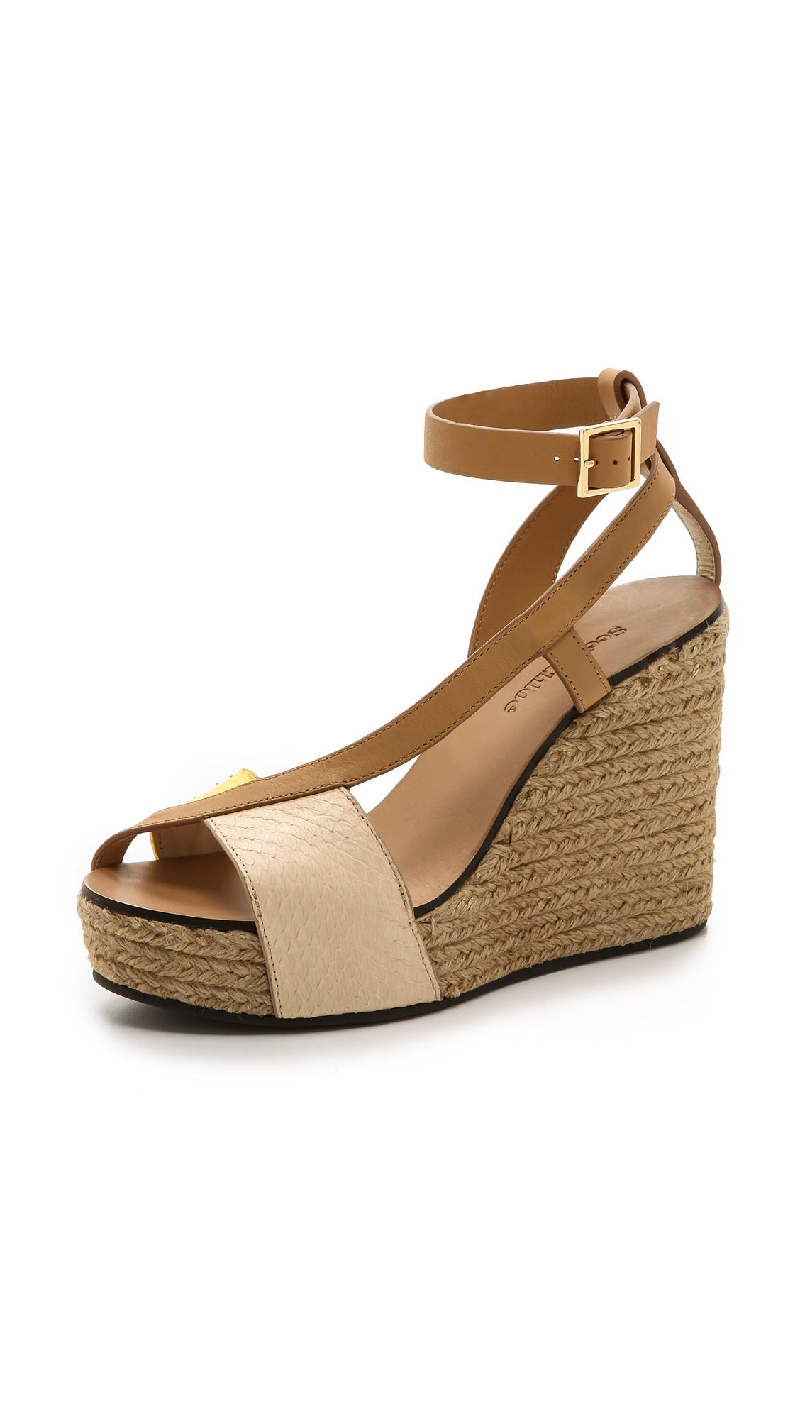 see by chlo cross strap espadrille wedge sandals in brown lyst. Black Bedroom Furniture Sets. Home Design Ideas