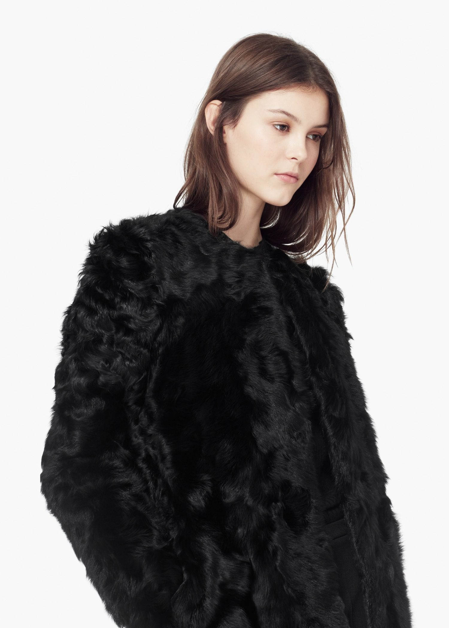 mango fur coat in black lyst. Black Bedroom Furniture Sets. Home Design Ideas