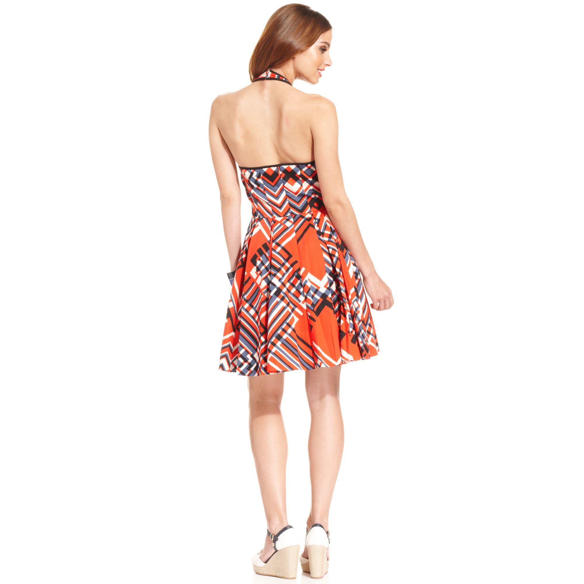 Jessica Simpson Geoprint Halter Dress Lyst