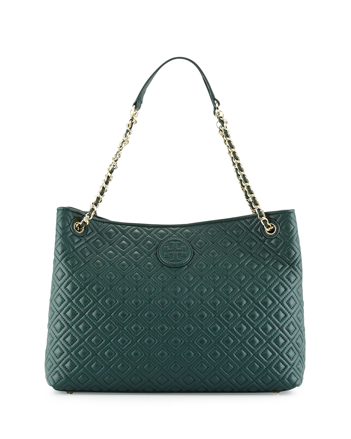 Lyst Tory Burch Marion Quilted Slouch Shoulder Bag In Green