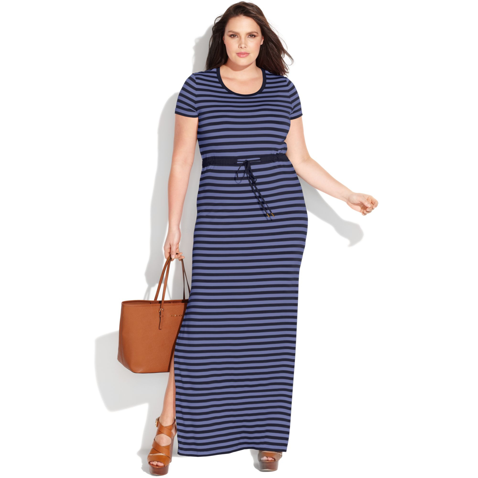 Lyst - Michael kors Plus Size Short Sleeve Striped Maxi Dress in Blue