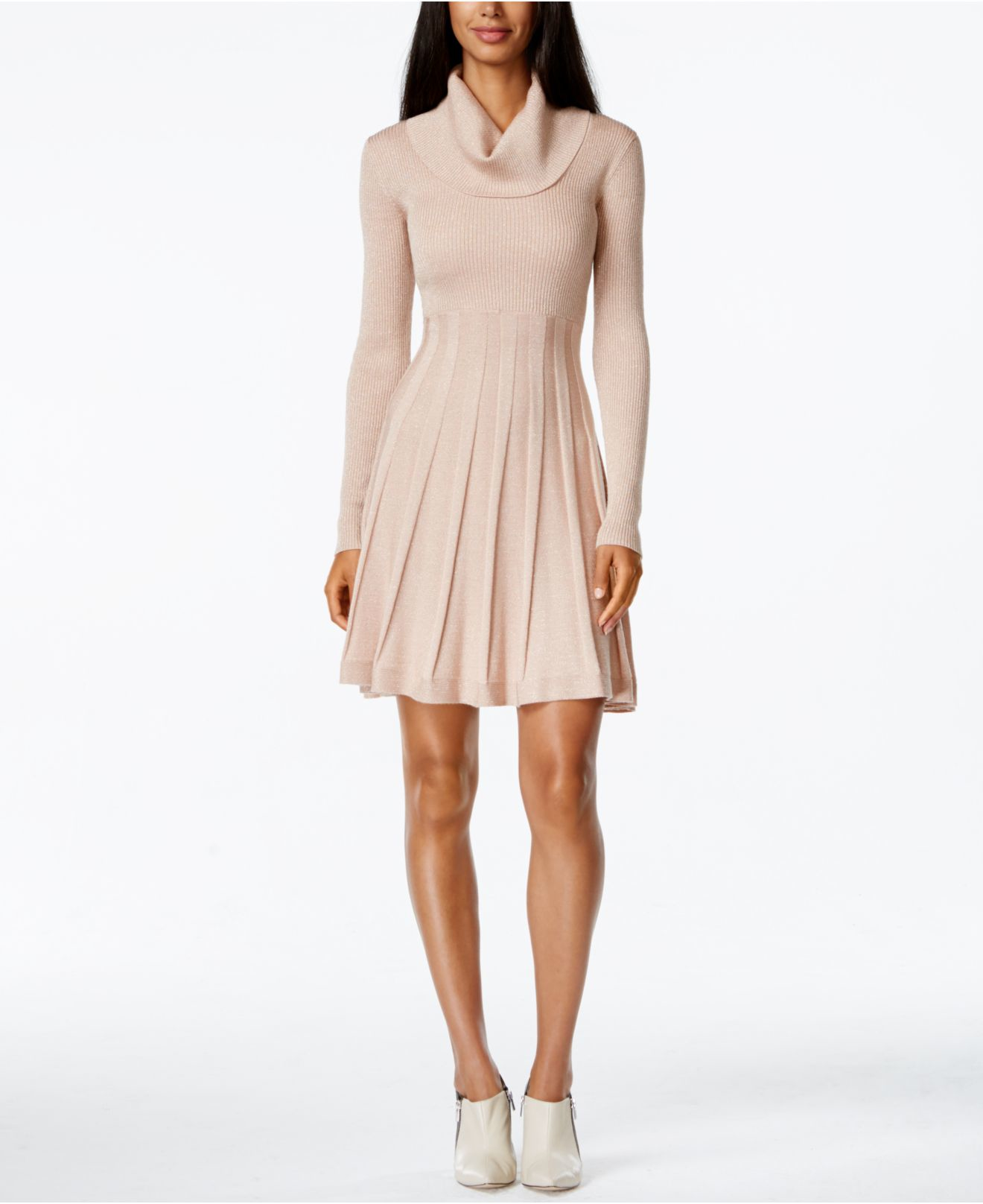 Calvin klein Cowl-neck Fit & Flare Sweater Dress in Pink | Lyst