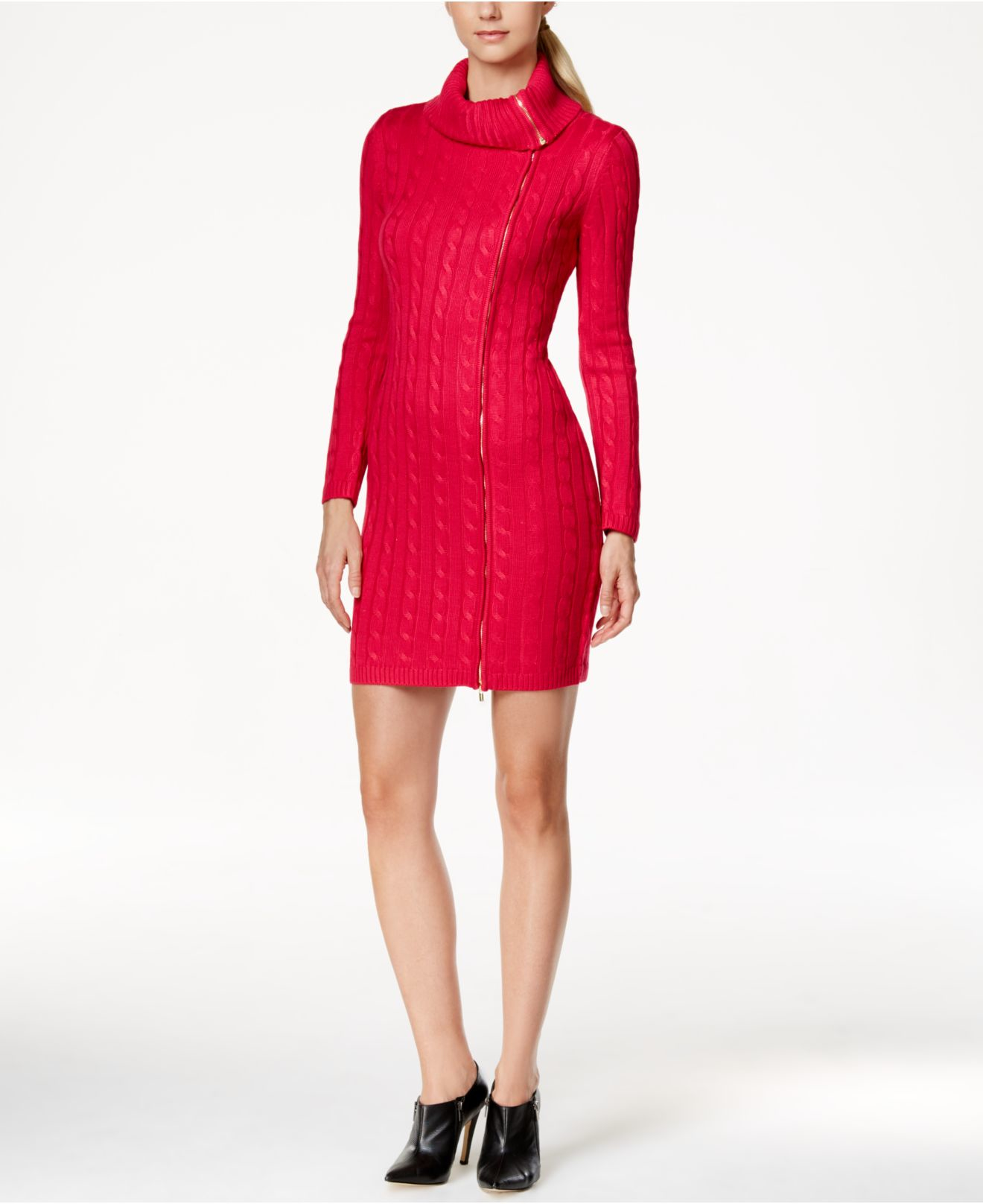 Calvin klein Zipper Cowl-neck Sweater Dress in Pink | Lyst