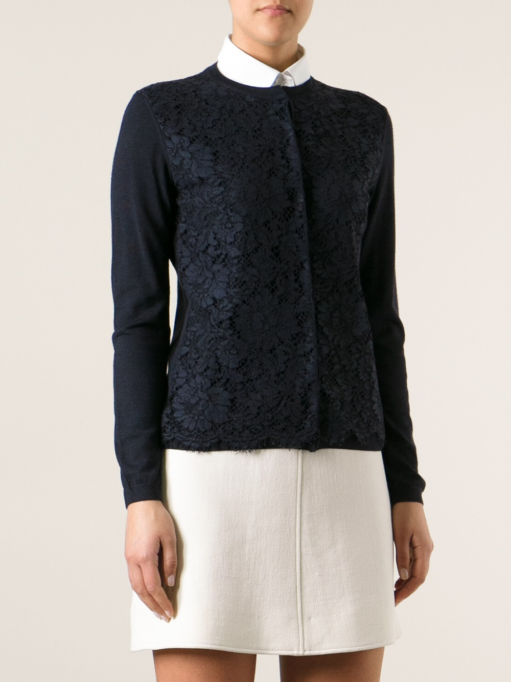 Valentino Lace Panel Cardigan in Blue | Lyst