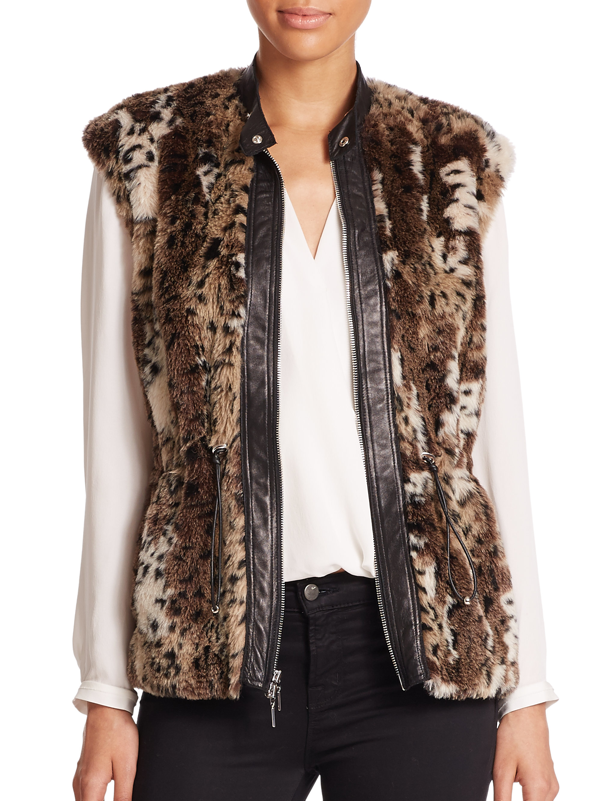 Women's Faux Fur Vests Sort by: Show #: Quick Look. Arctic Fox Knee-Length Faux Fur Vest. In Stock! Leopard Faux Fur Hook Vest. In Stock! Styled for the woman on the go, our Couture Collection faux fur vest is this season's must! To rich.