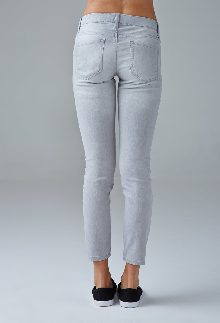 forever 21 low rise skinny ankle jeans in gray light grey lyst. Black Bedroom Furniture Sets. Home Design Ideas