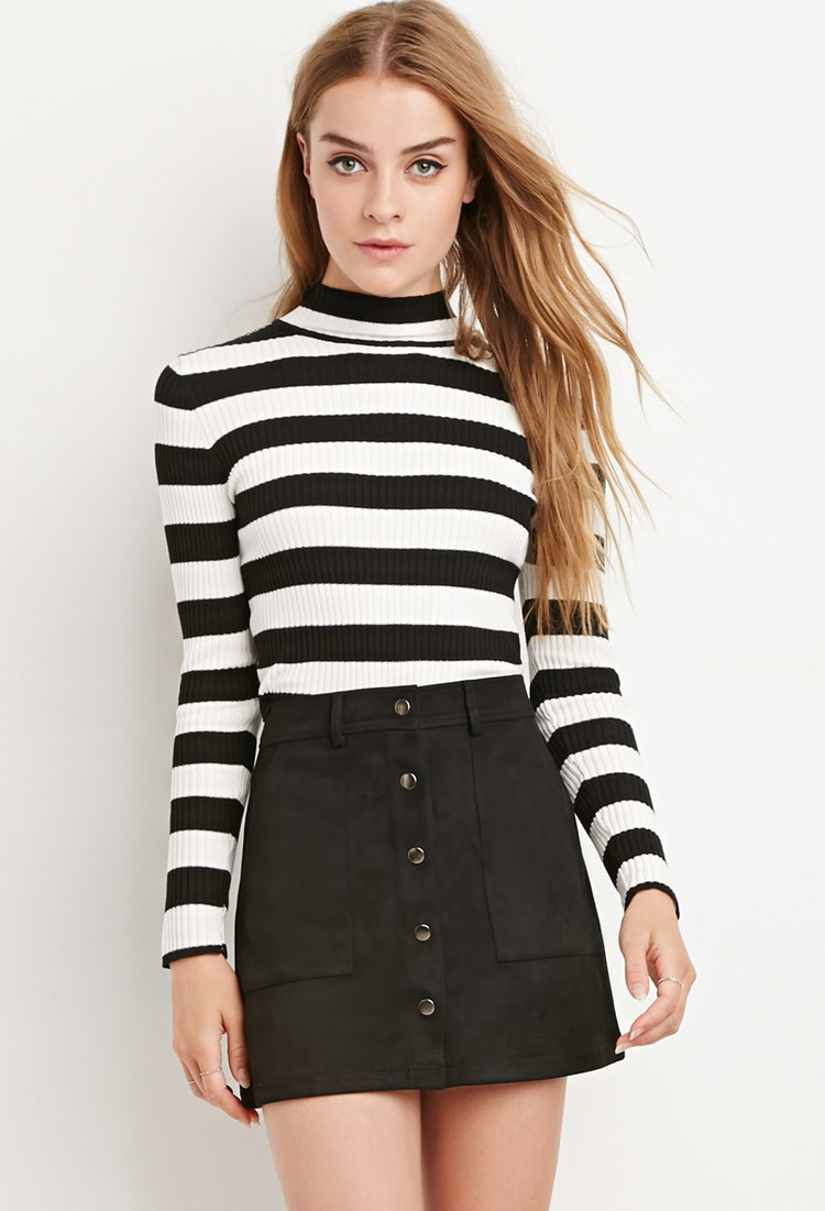 Forever 21 Faux Suede Mini Skirt in Black   Lyst