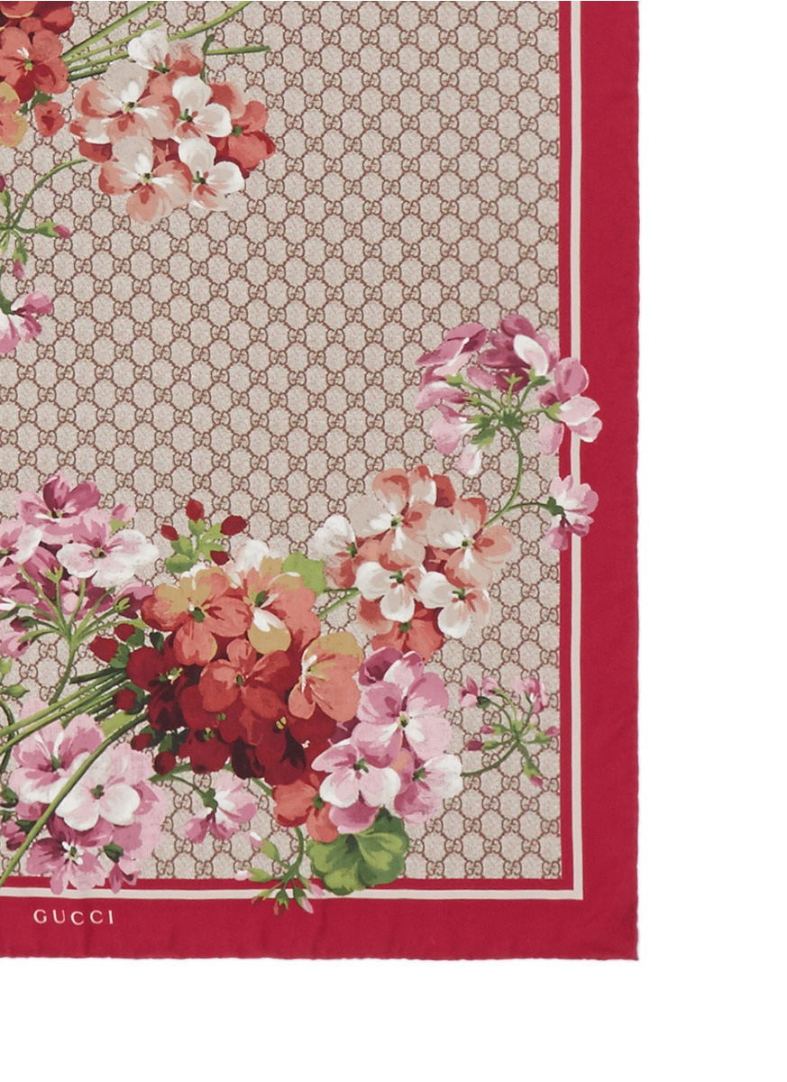 GG and floral-printed silk scarf Gucci WQE79M