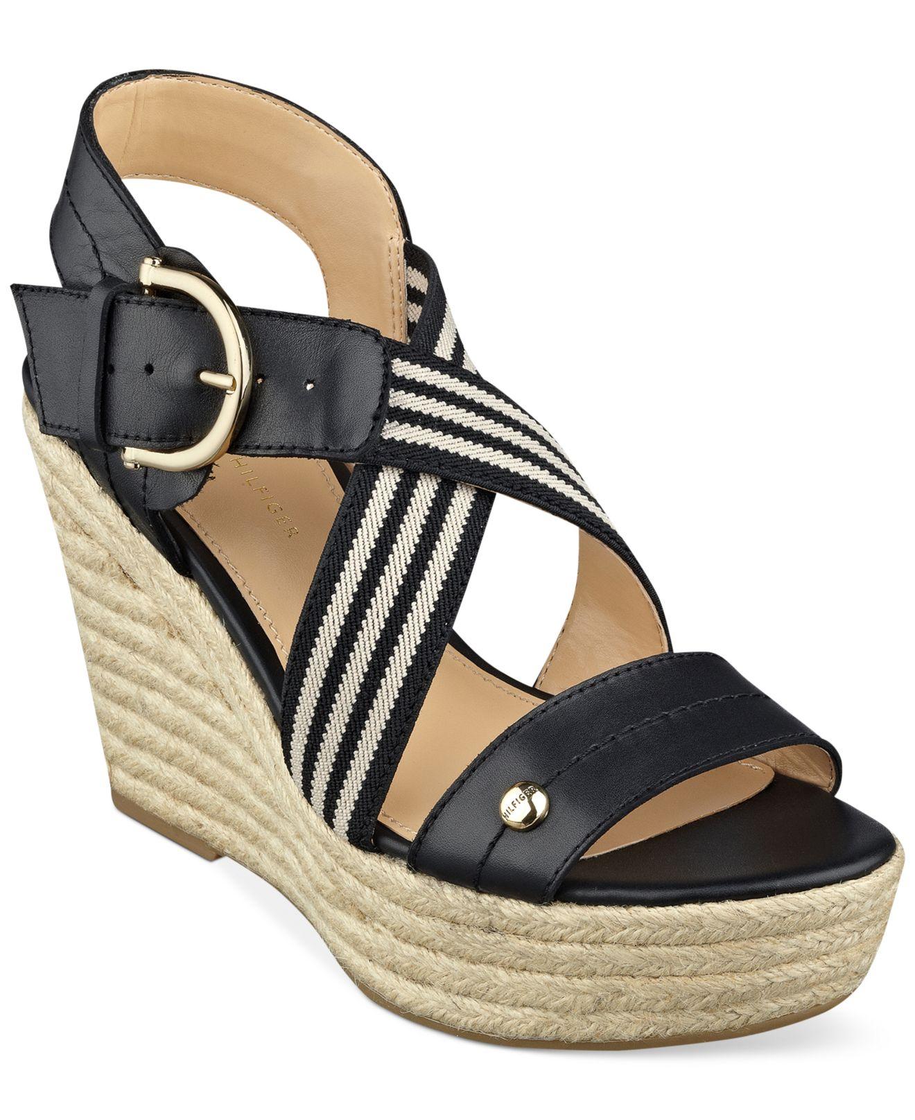 5e16955e38d Lyst - Tommy Hilfiger Women s Ignacia Platform Wedge Sandals in Black
