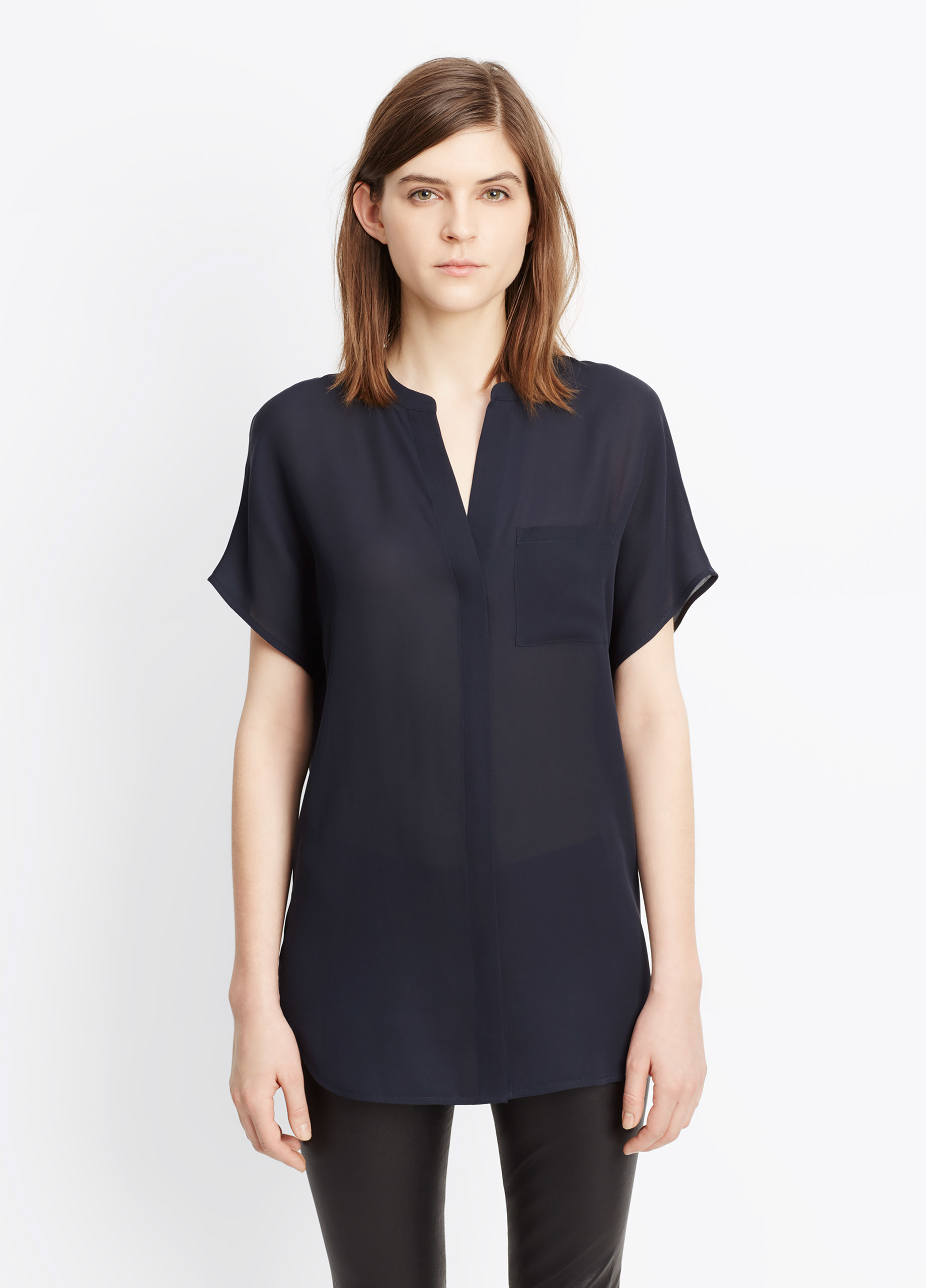 f8db8a7a31366e Vince Silk Cap Sleeve Popover Blouse in Blue - Lyst