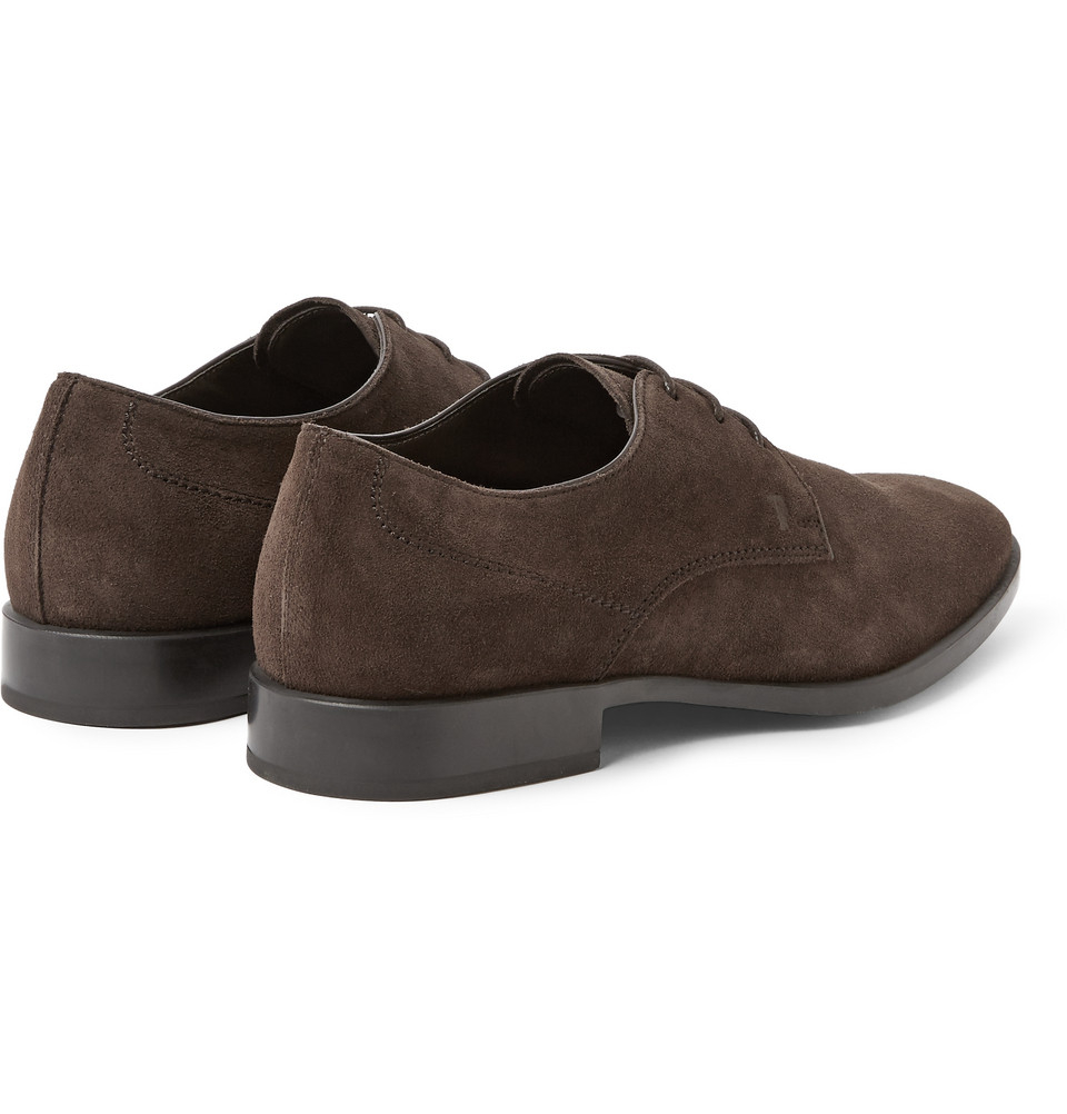 tod s suede derby shoes in brown for lyst