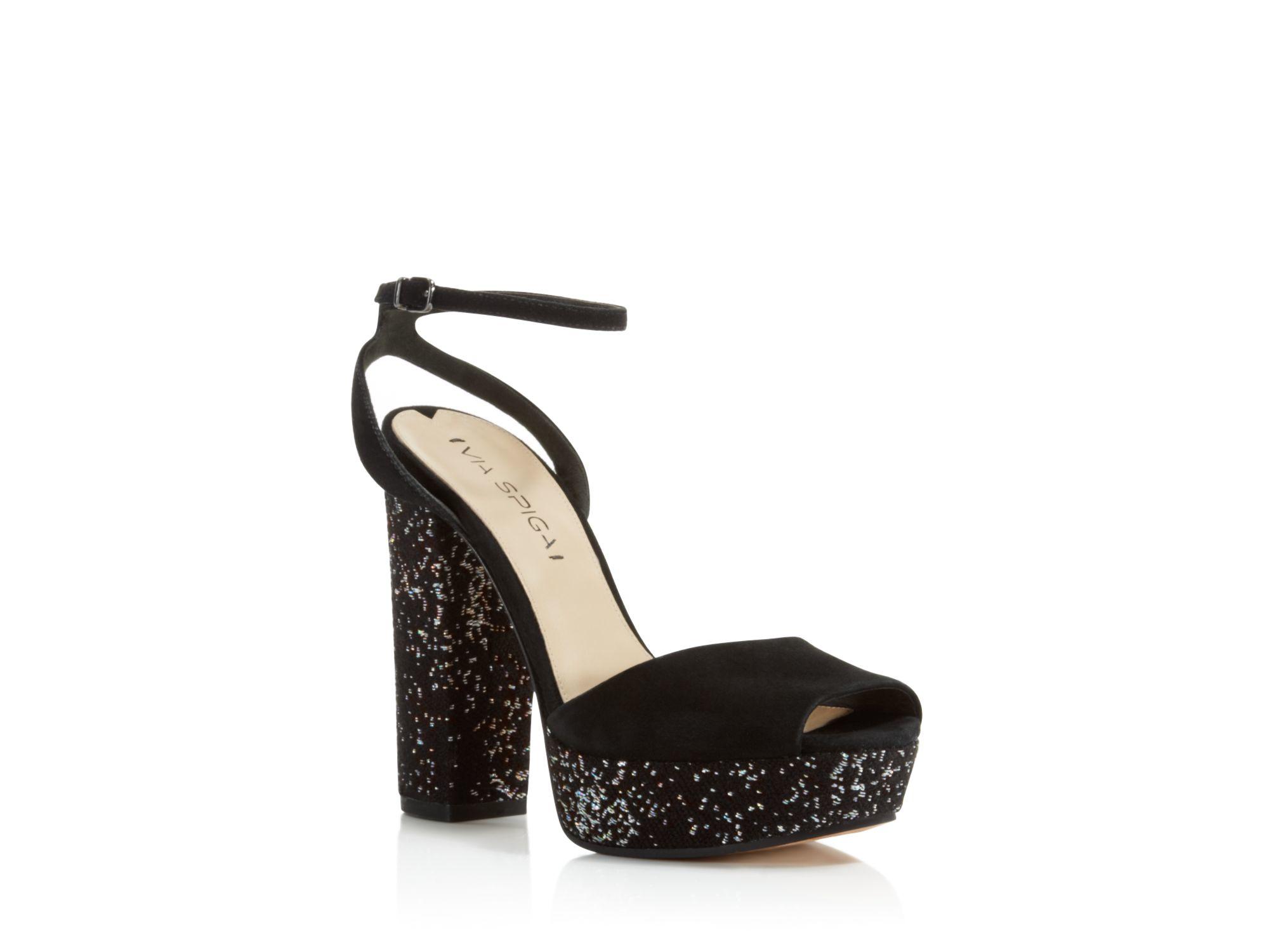 Black And Silver Platform Heels