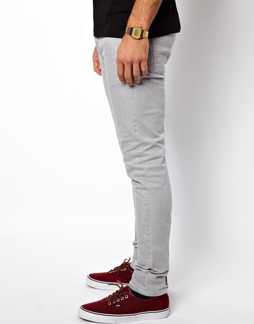 lyst  asos skinny jeans in mid grey in gray for men