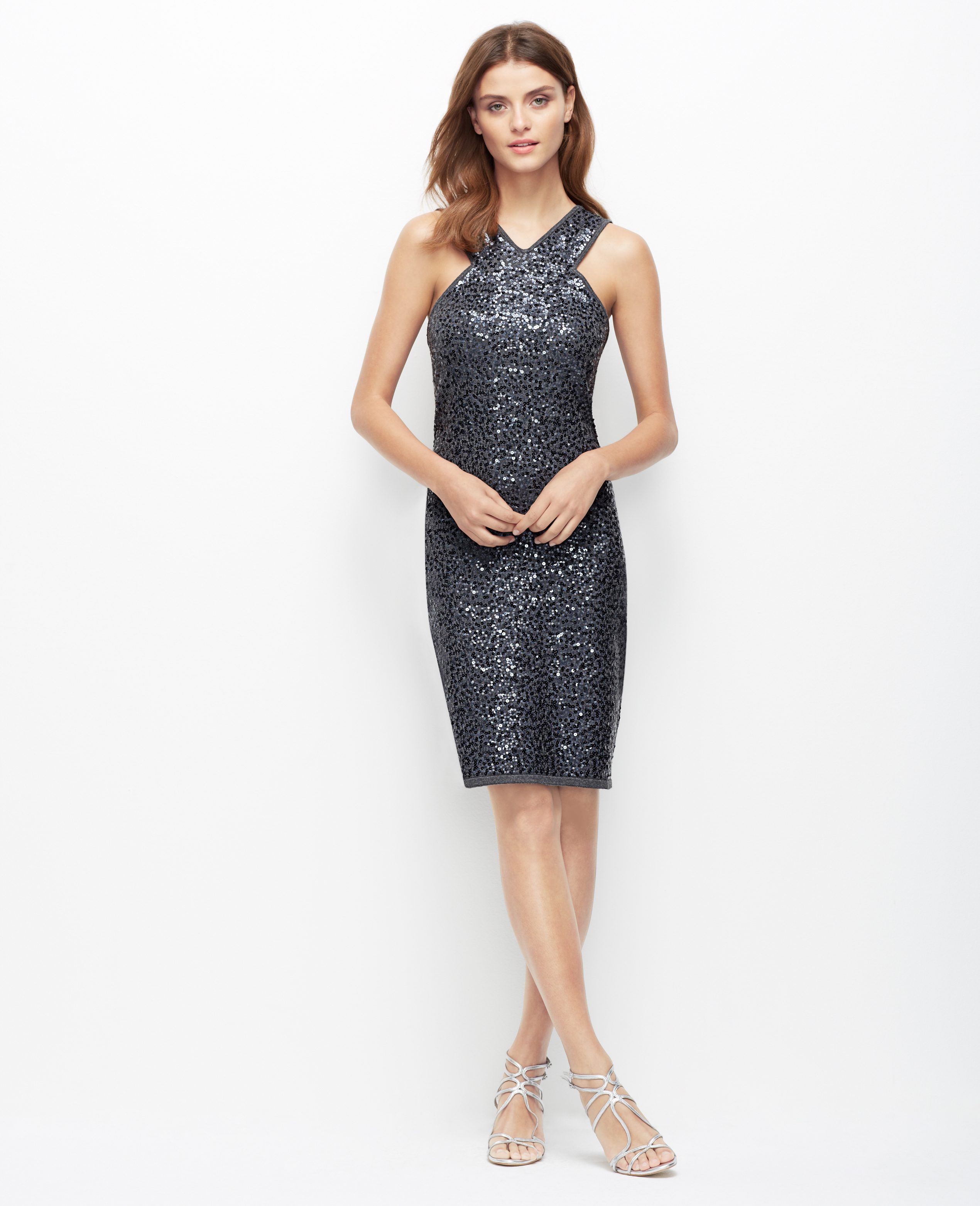Ann taylor Sequin Sweater Dress in Gray  Lyst