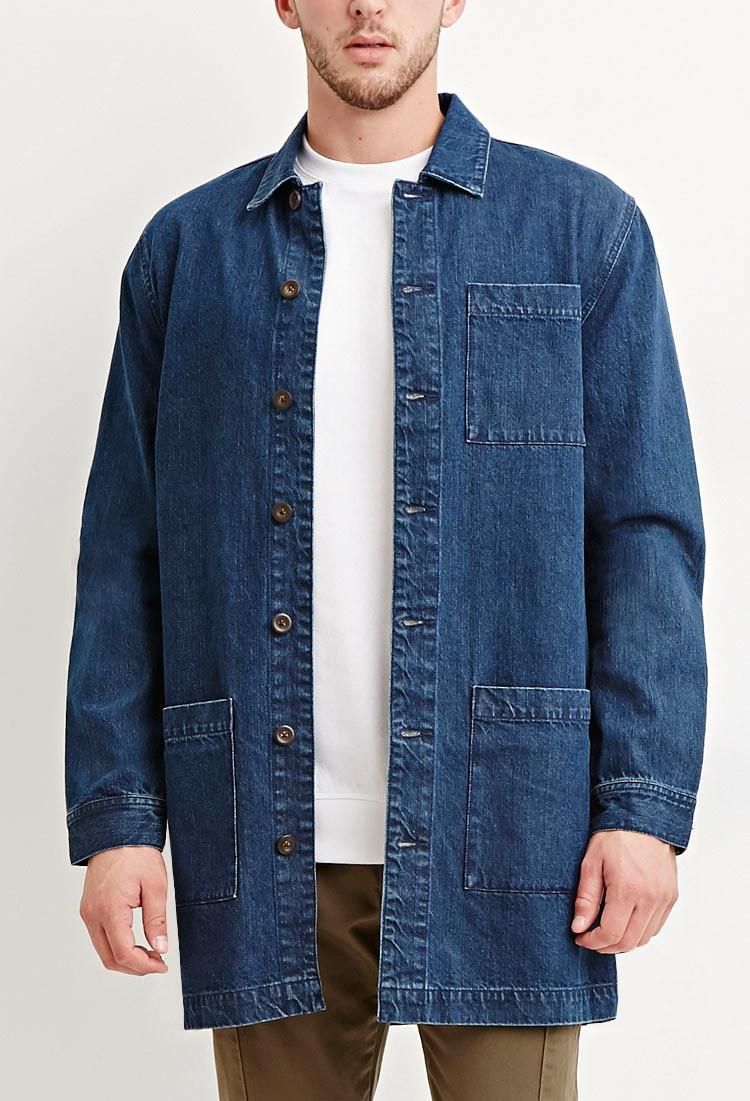 Forever 21 Longline Denim Jacket in Blue for Men   Lyst