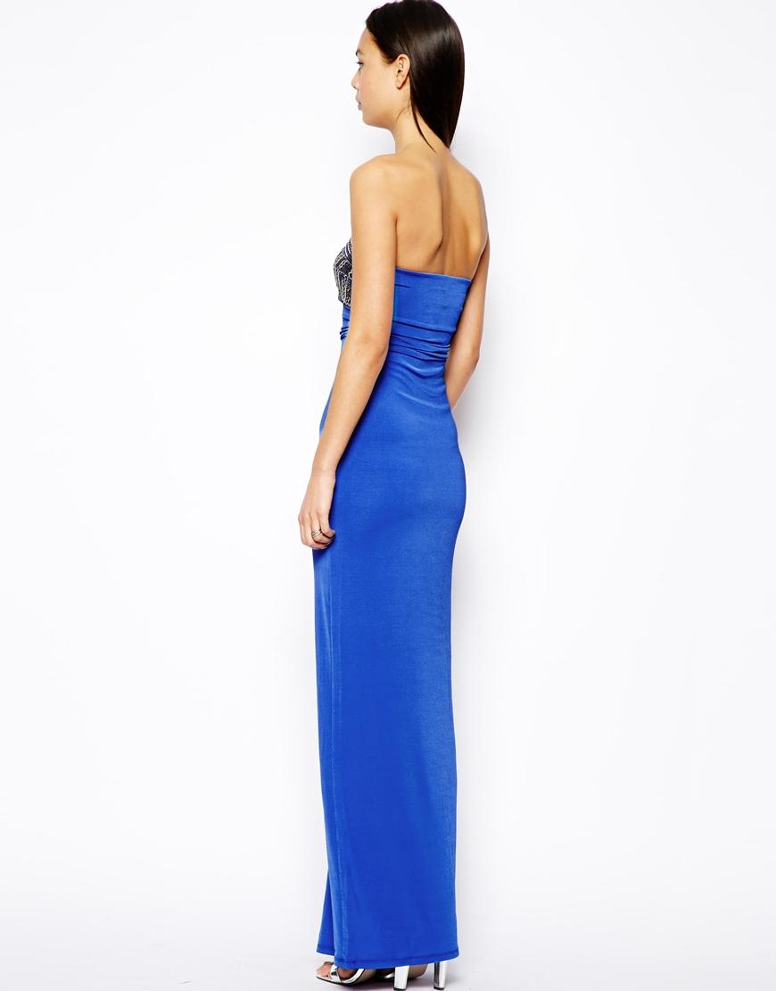 002dcae95da0c1 Lyst - Lipsy Embellished Bust Maxi Dress in Blue