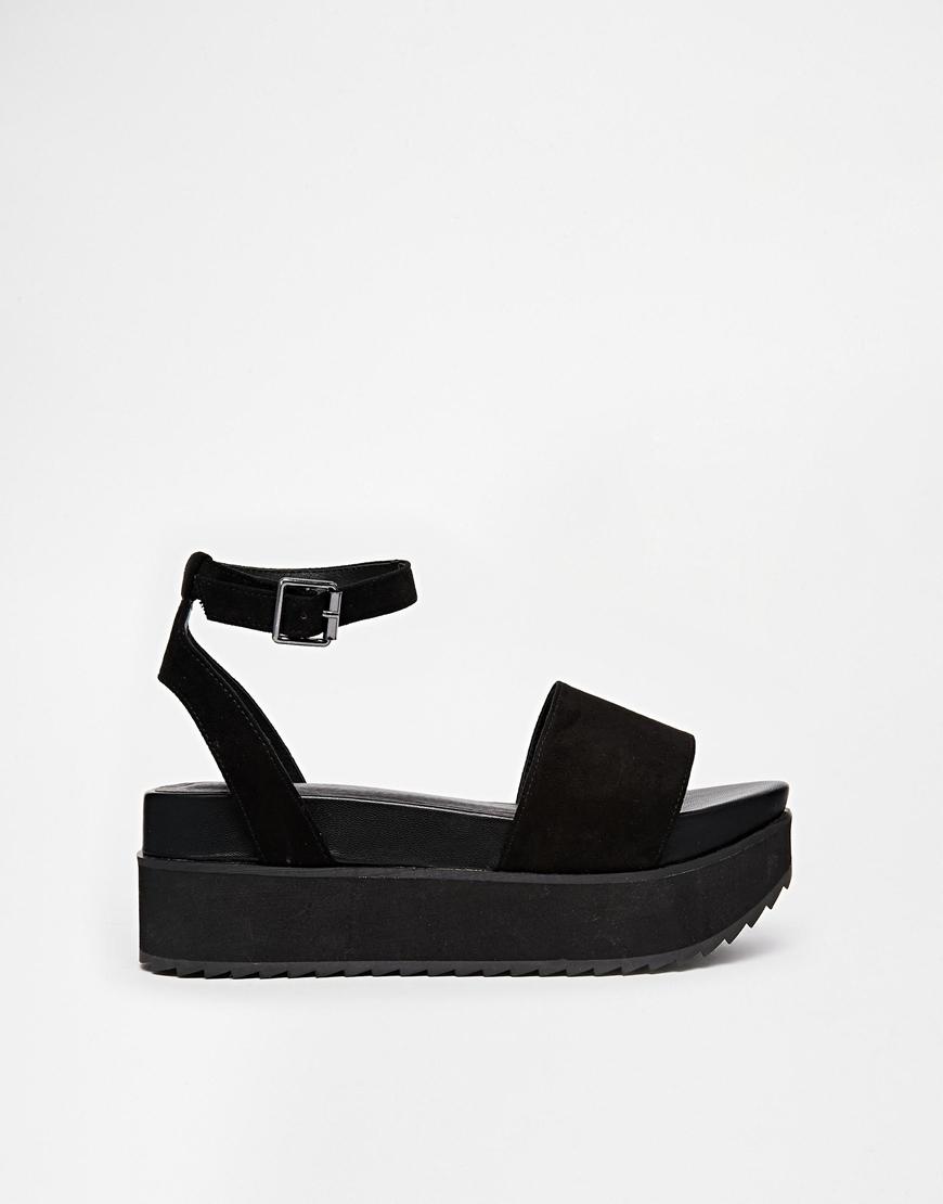 edf0e6e9cf6 Lyst - ASOS Hangtime Flatform Sandals in Black