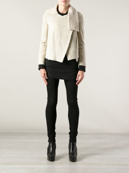Isabel Marant Leather And Shearling Lined Jacket In White