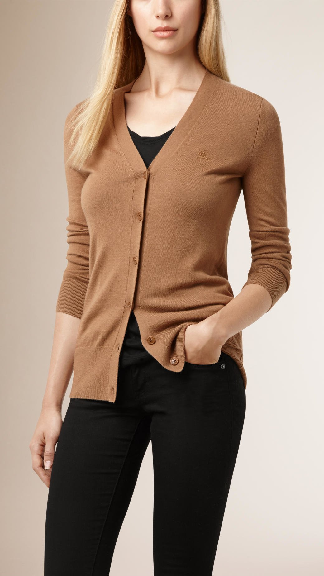 Burberry V-neck Cashmere Cardigan in Natural | Lyst