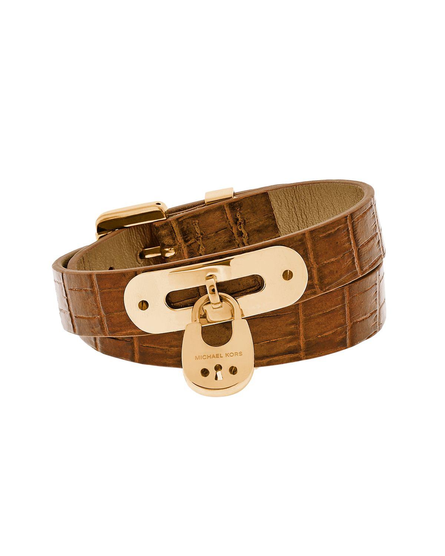 michael kors padlock dual wrap leather bracelet in brown. Black Bedroom Furniture Sets. Home Design Ideas