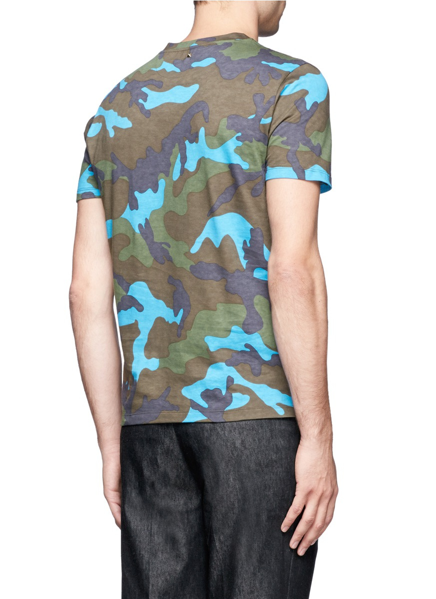 Lyst valentino camouflage print cotton t shirt for men for Camouflage t shirt printing