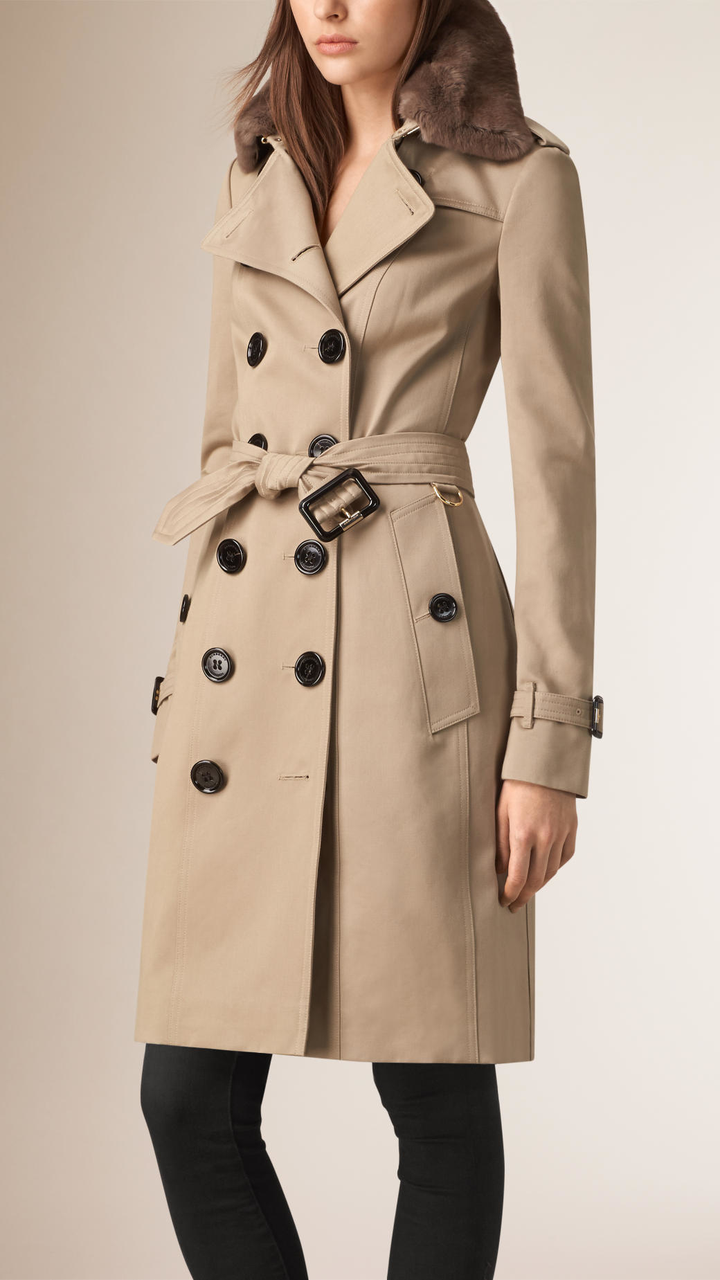 Lyst Burberry Fur Collar Cotton Trench Coat In Brown