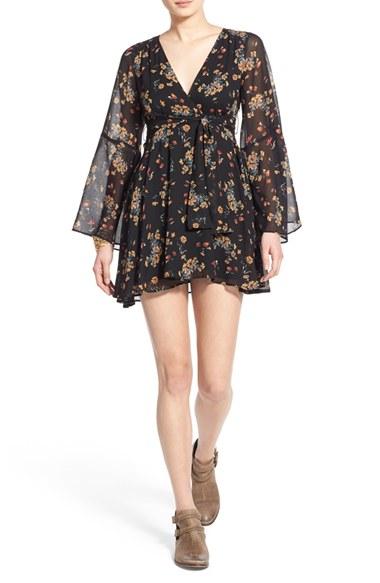 48817276e1dd Free People 'lilou' Floral Print Minidress in Black - Lyst