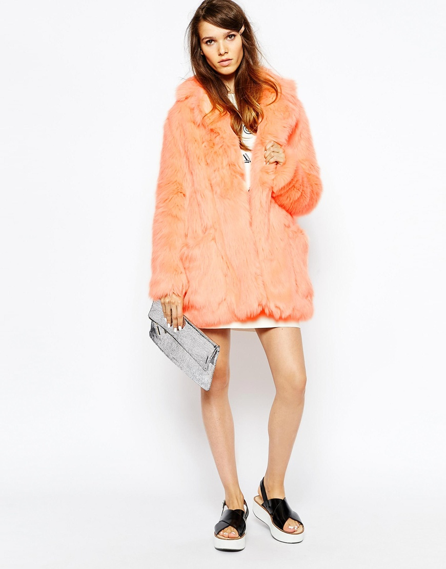 See by chloé Peach Faux Fur Coat in Pink | Lyst
