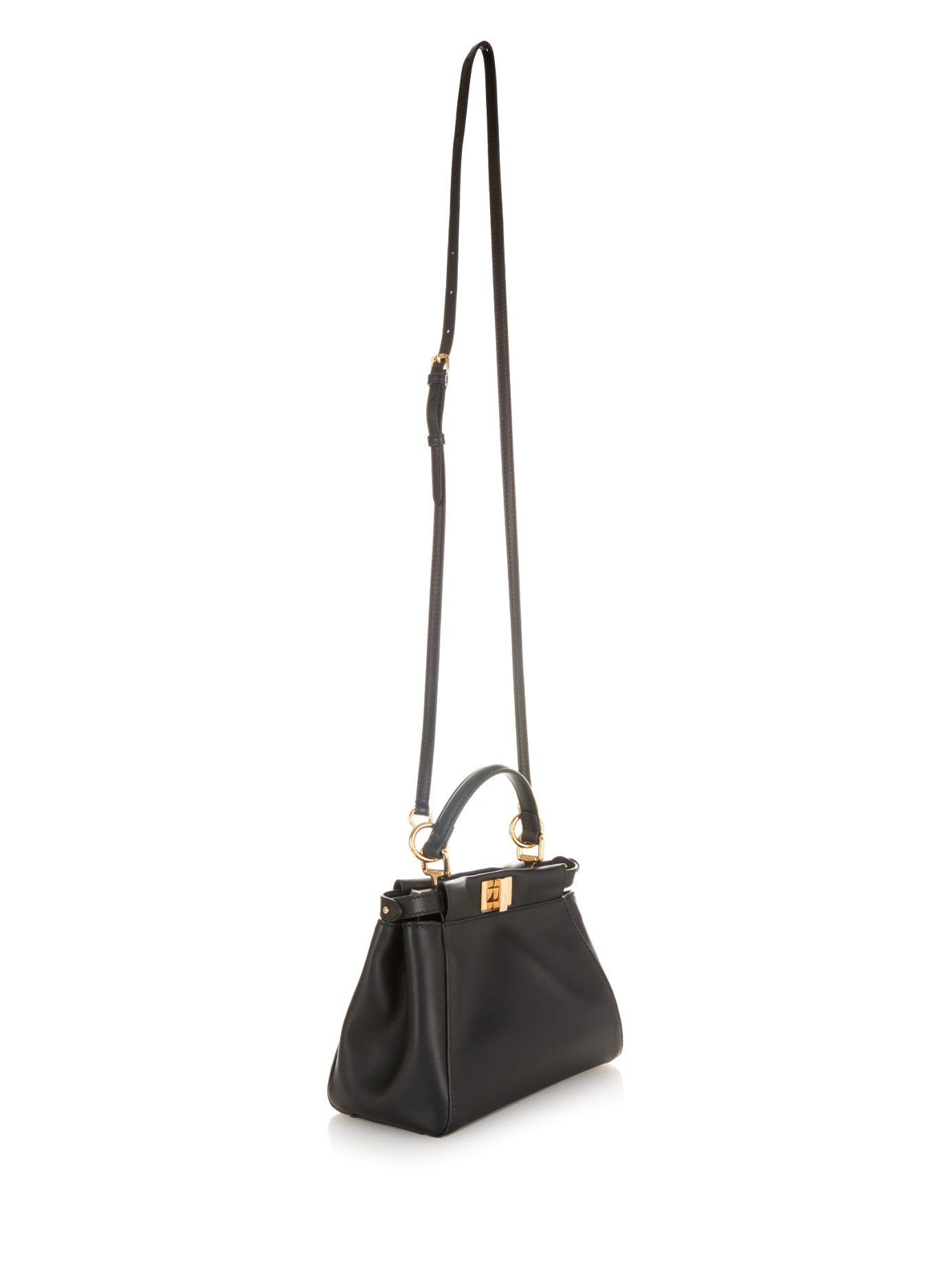 95655a8a01ed Lyst - Fendi Peekaboo Mini Embellished Leather Cross-body Bag in Black