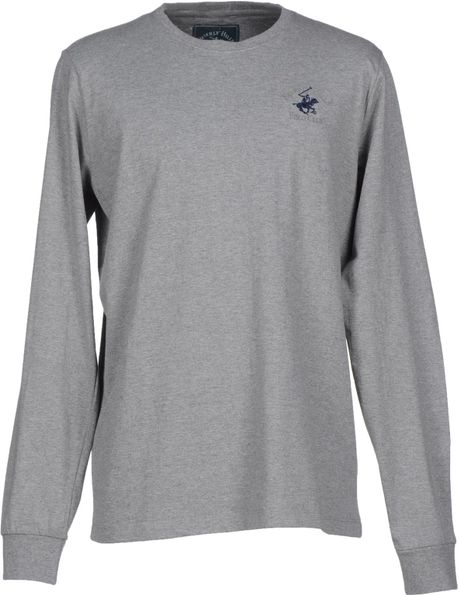 Beverly Hills Polo Club T Shirt In Gray For Men Grey Lyst