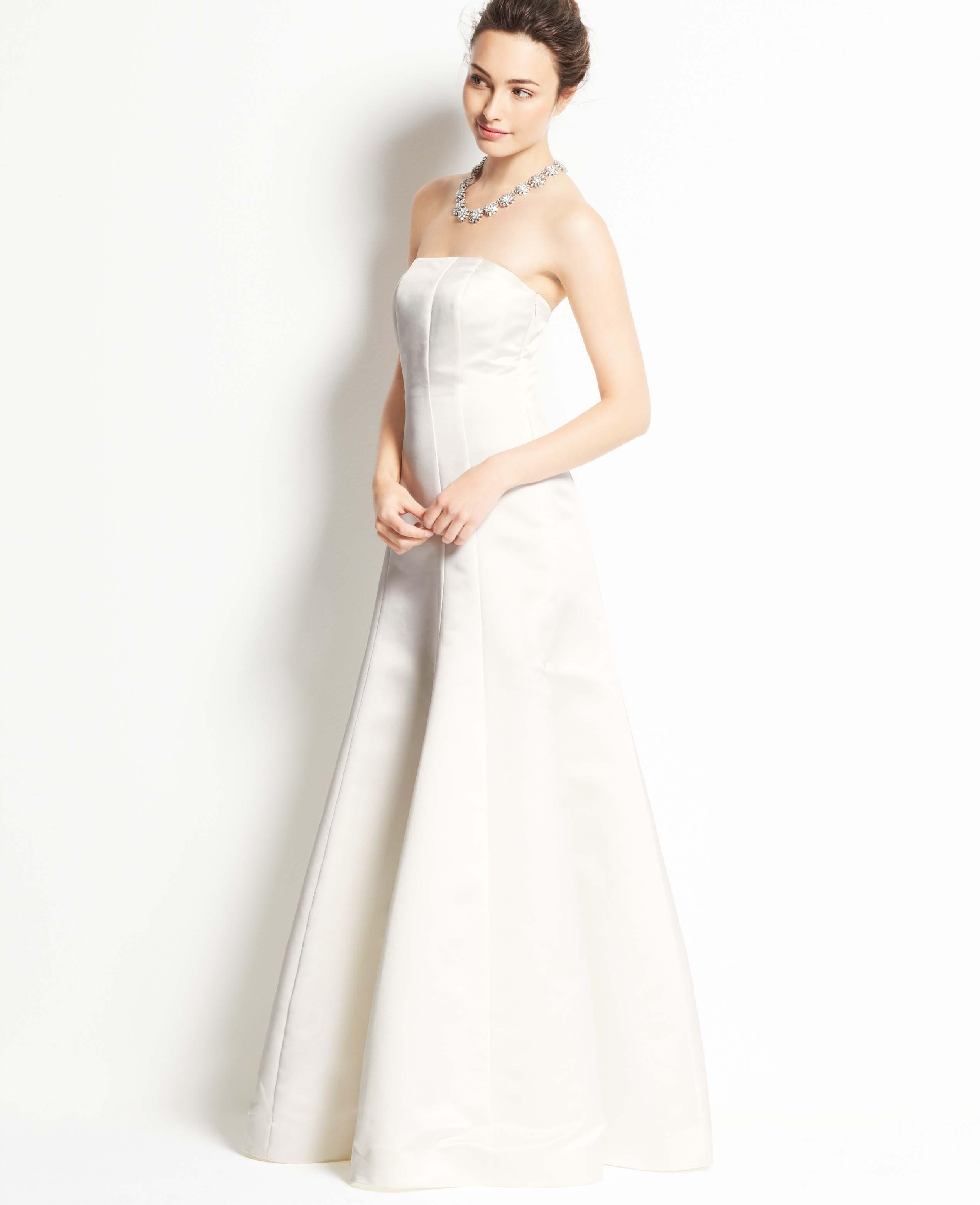 Ann taylor duchess satin strapless wedding dress in white lyst gallery junglespirit Images