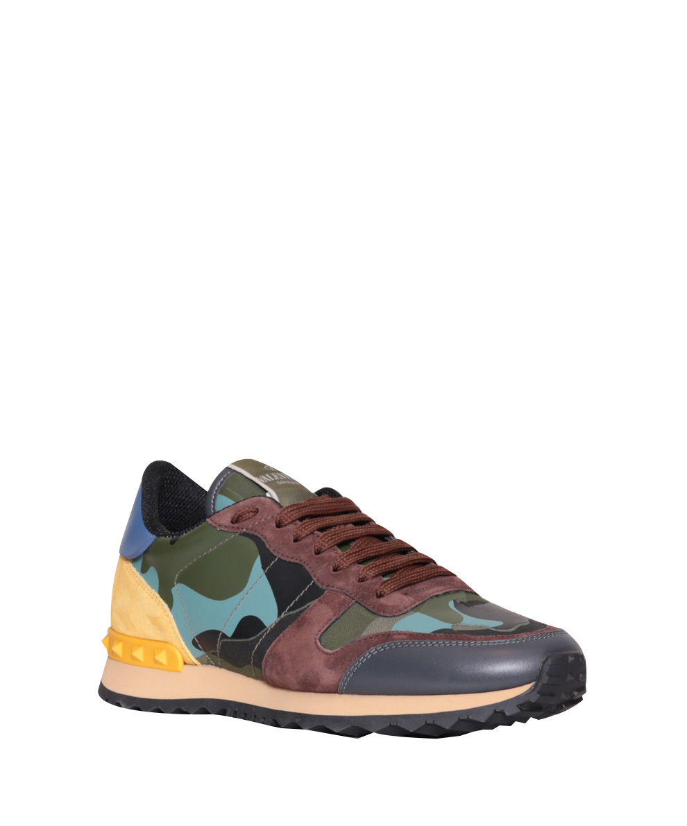 lyst valentino rockrunner camouflage sneakers in blue. Black Bedroom Furniture Sets. Home Design Ideas