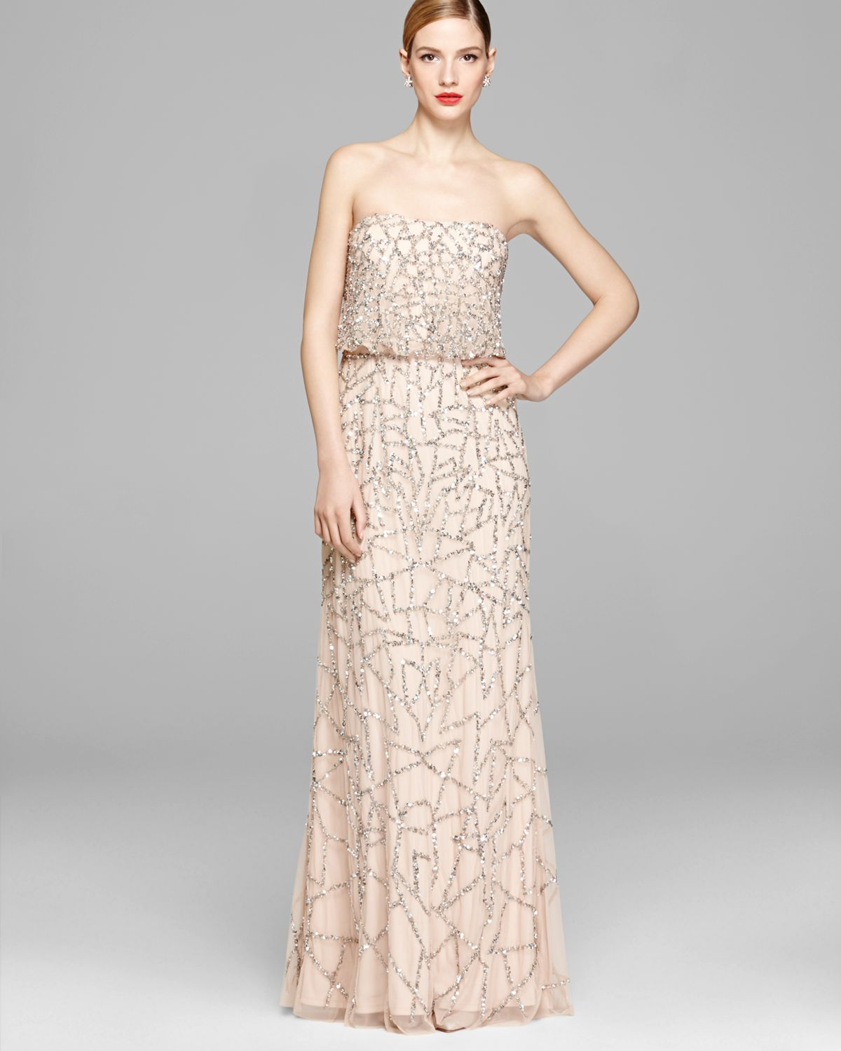 Fantastic Adrianna Papell One Shoulder Beaded Blouson Gown ...