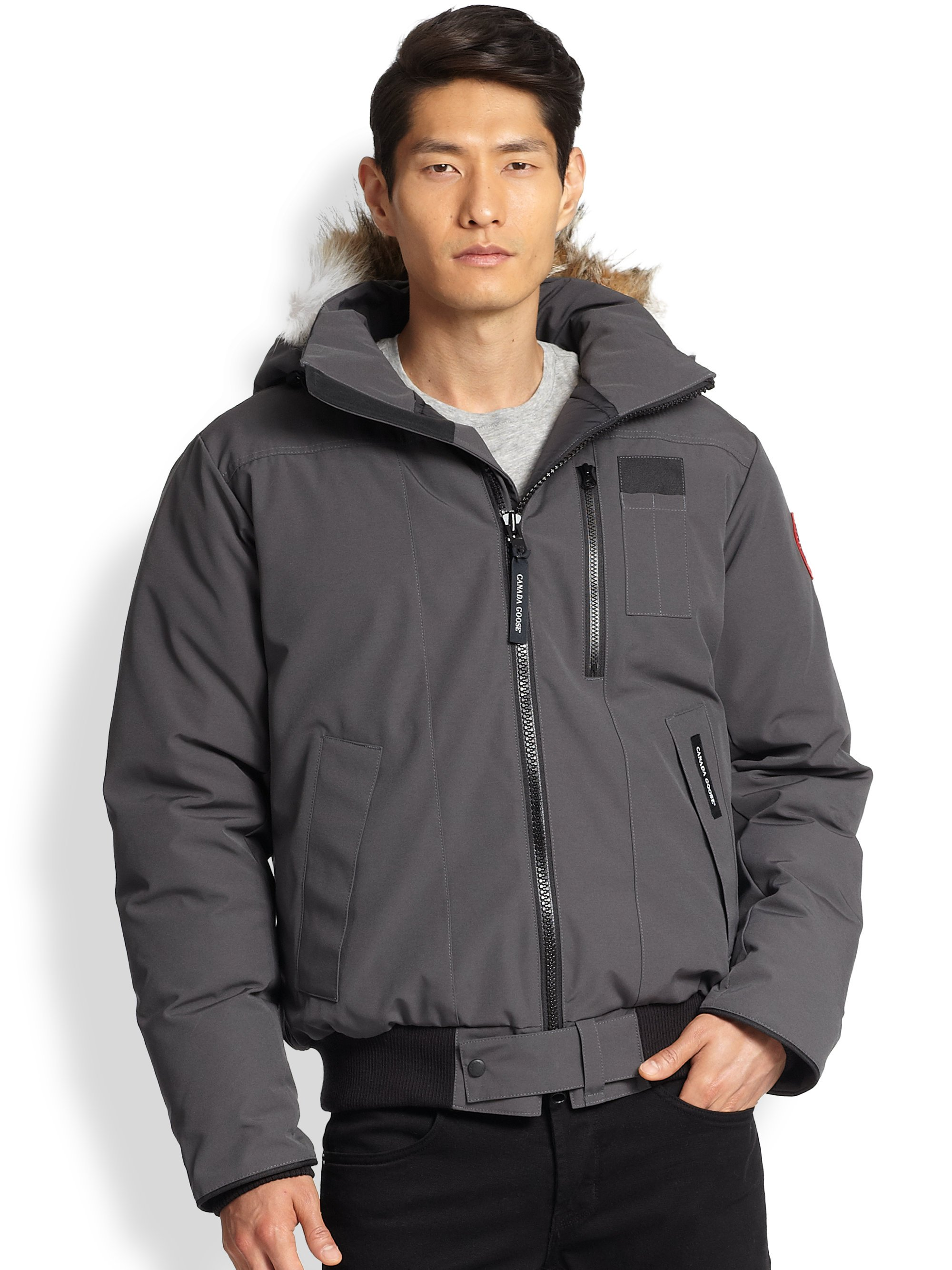 Canada Goose Borden Fur Trimmed Puffer Jacket In Gray For
