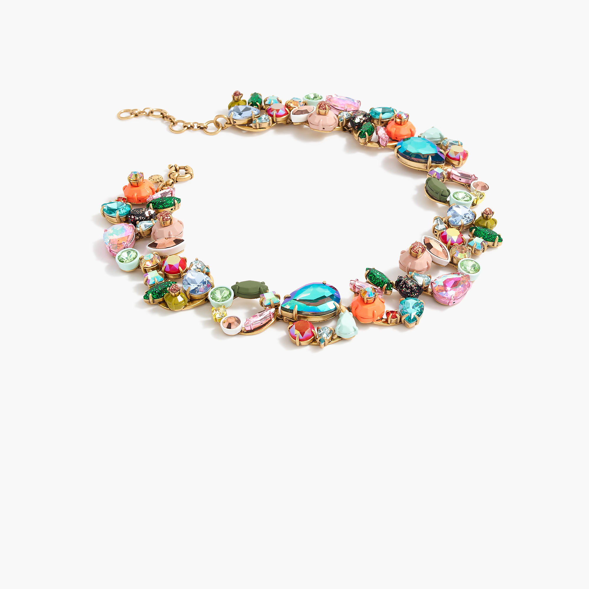 Mixed crystal necklace in blue lyst for J crew jewelry 2015