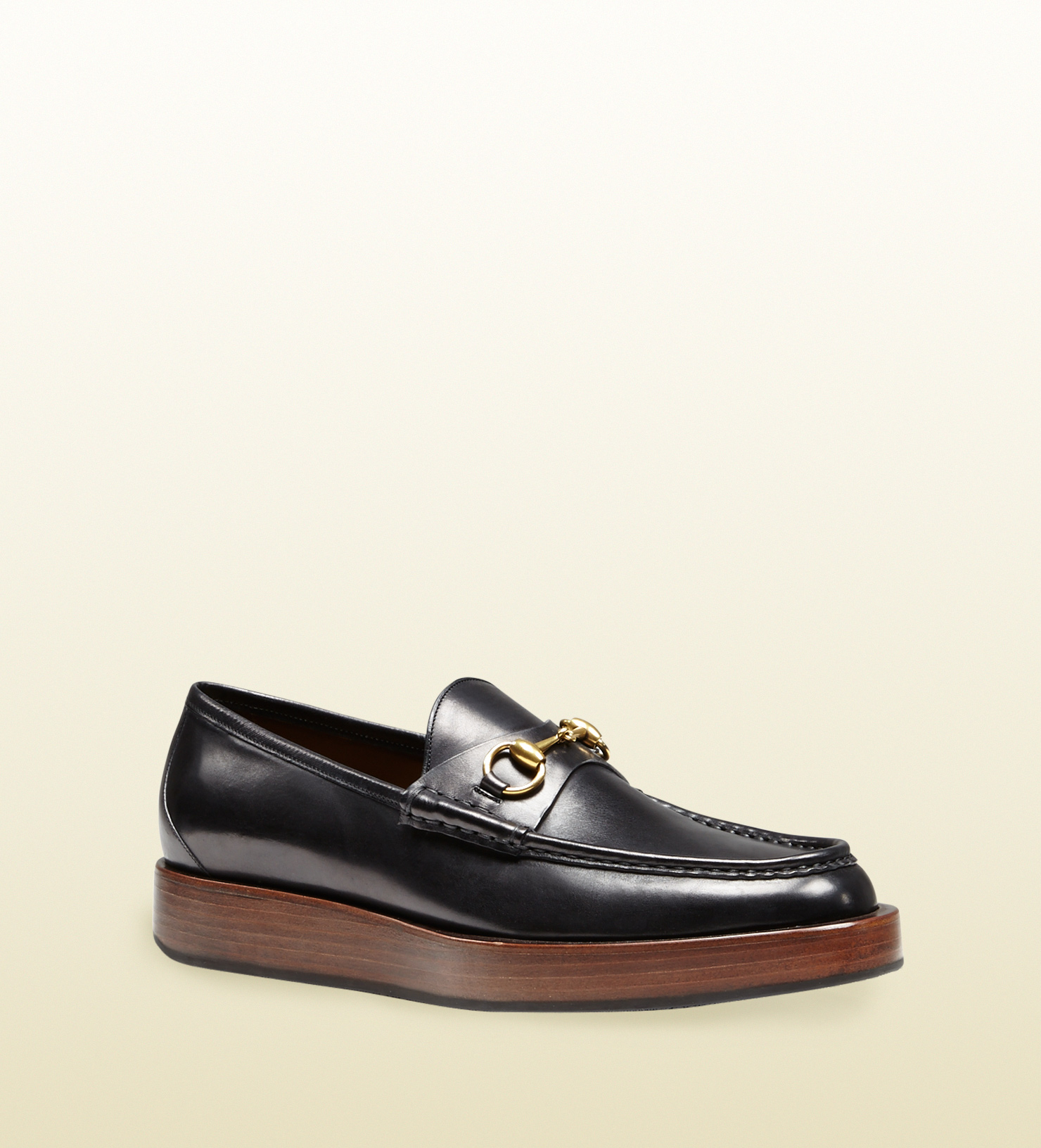 29ec57f99bb2 Lyst - Gucci Shaded Leather Platform Horsebit Loafer in Black for Men