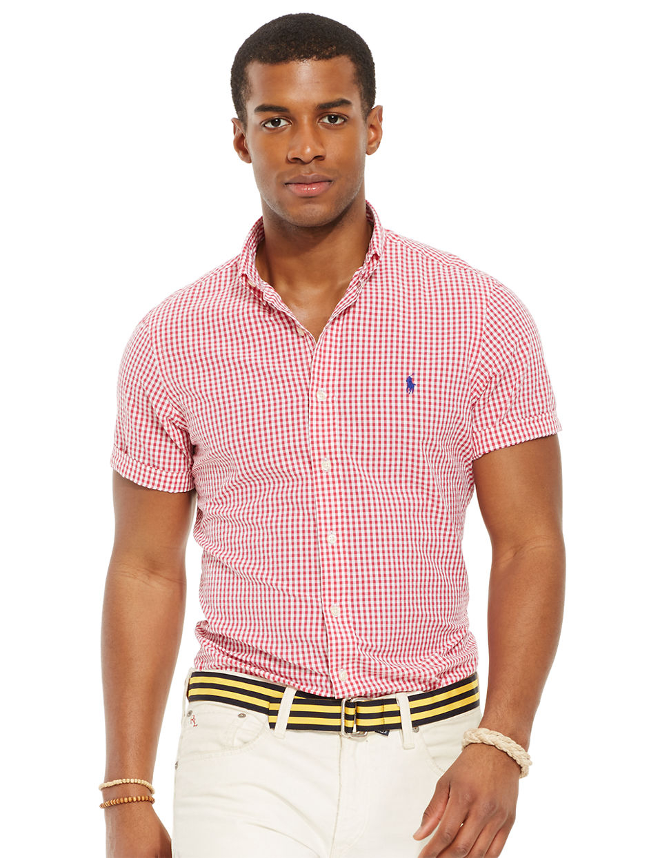 Polo ralph lauren short sleeved checked seersucker shirt for Mens short sleeve seersucker shirts