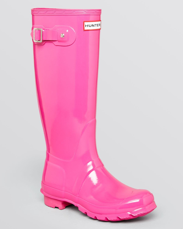Hunter Rain Boots Original Tall Gloss in Pink (Lipstick ...