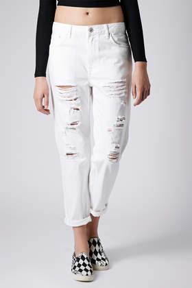 Topshop Moto Ripped White Hayden Boyfriend Jeans in White | Lyst